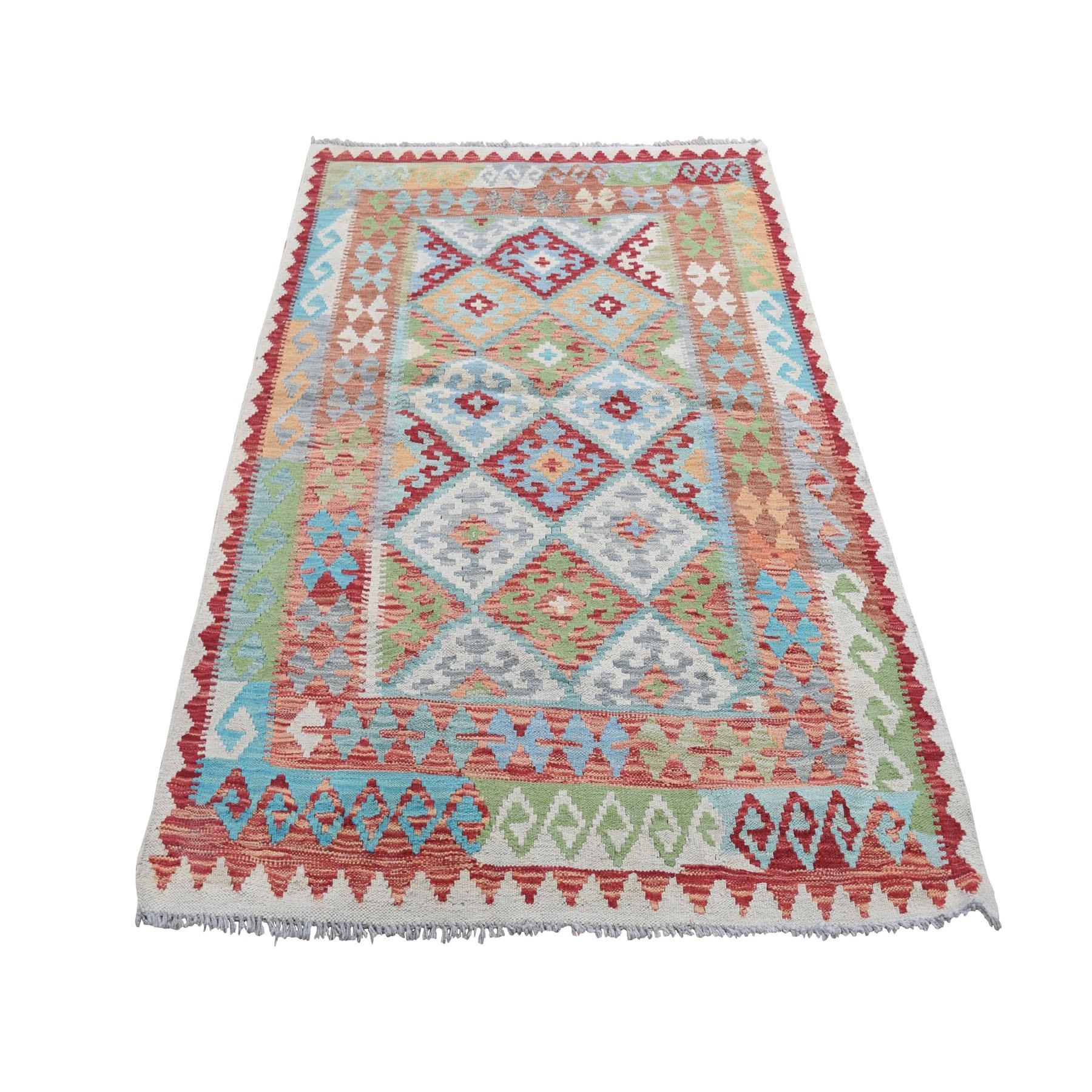 "4'X5'9"" Veggie Dyes Afghan Kilim Pure Wool Hand Woven Oriental Rug moad8ac7"