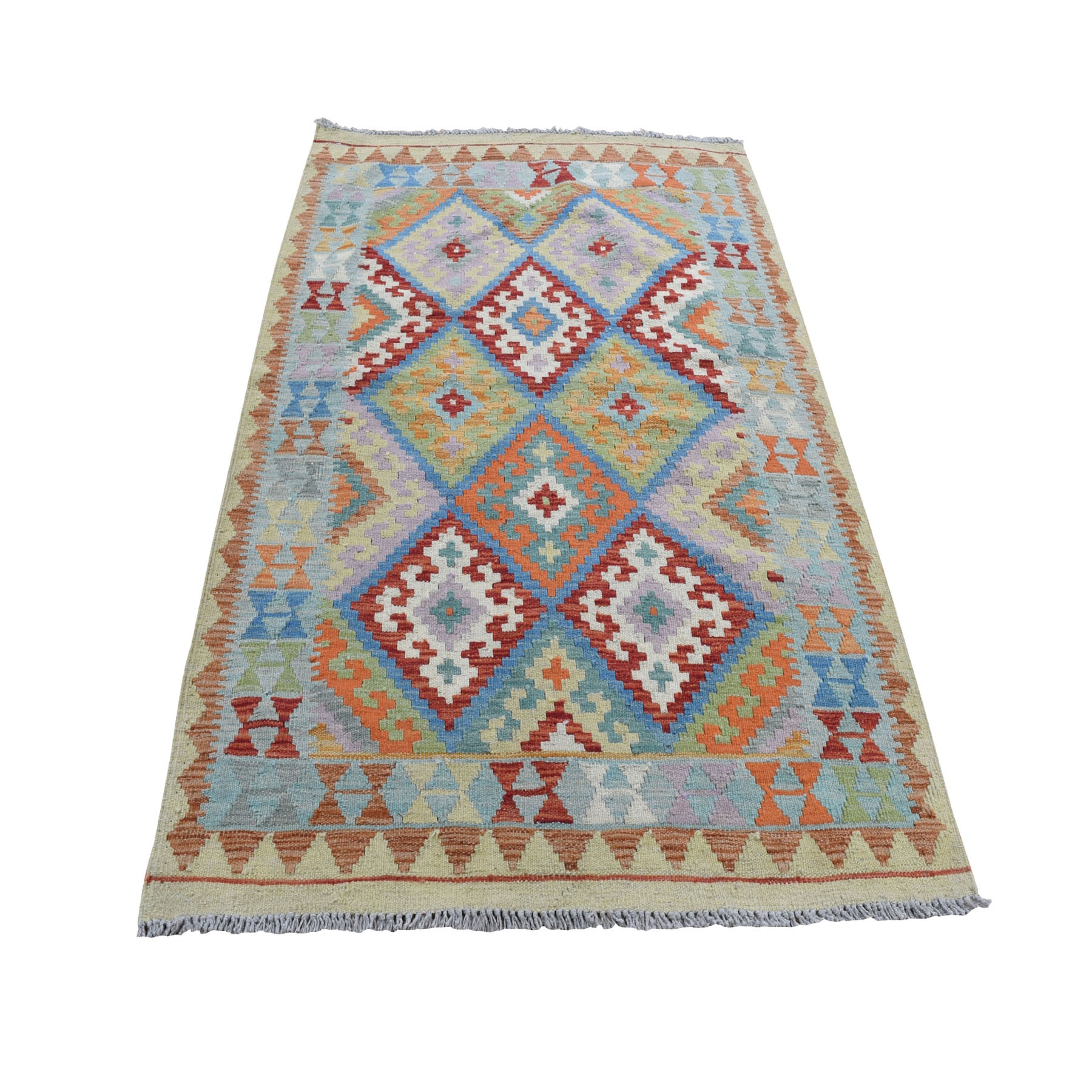 """3'5""""X5 Colorful Afghan Kilim Pure Wool Hand Woven Oriental Rug moad8ac8"""