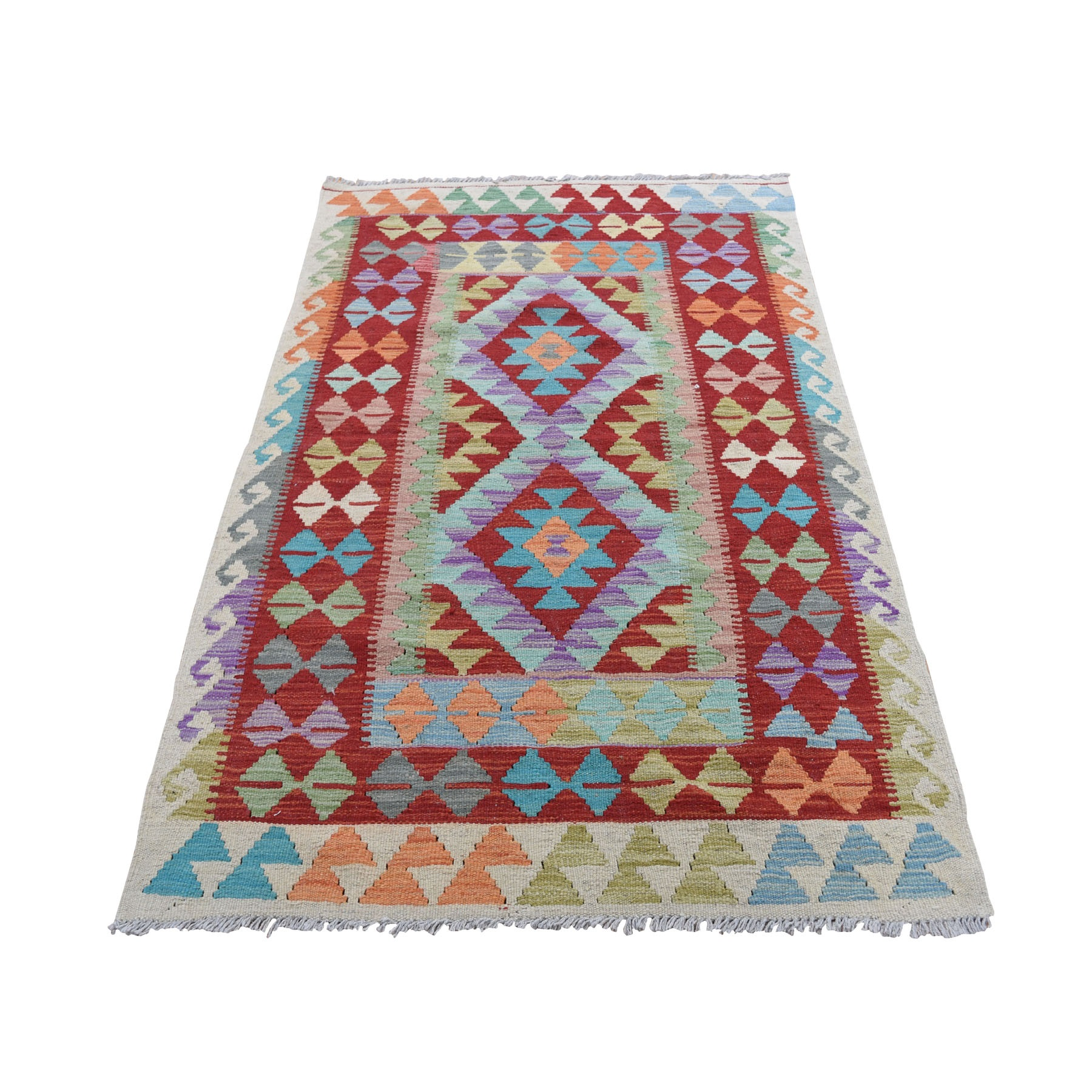 """3'2""""X5 Colorful Afghan Kilim Pure Wool Hand Woven Oriental Rug moad8ad0"""