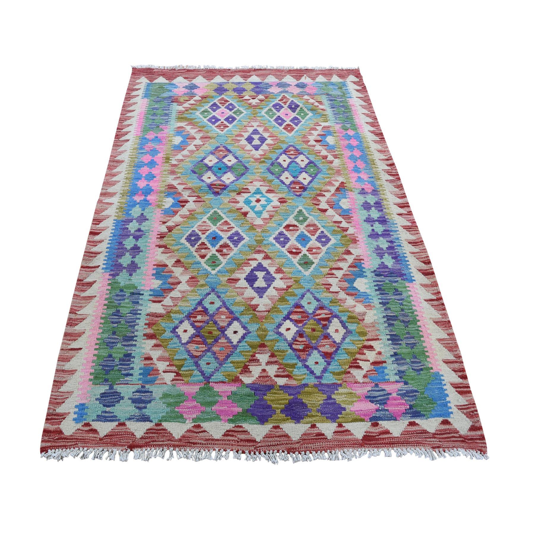 "3'5""X5' Colorful Afghan Kilim Pure Wool Hand Woven Oriental Rug moad8ada"