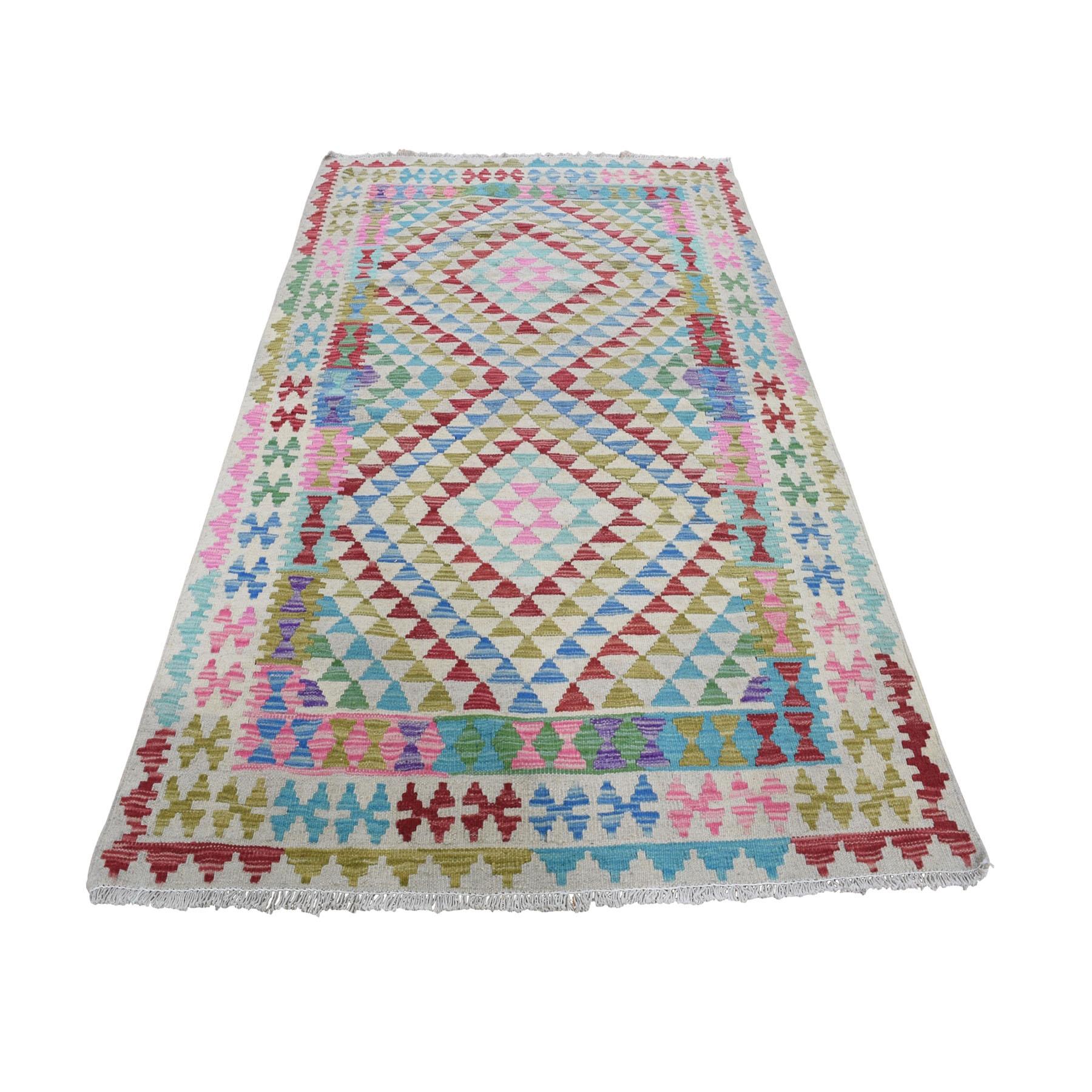 "4'X5'8"" Colorful Afghan Kilim Pure Wool Hand Woven Oriental Rug moad8adb"