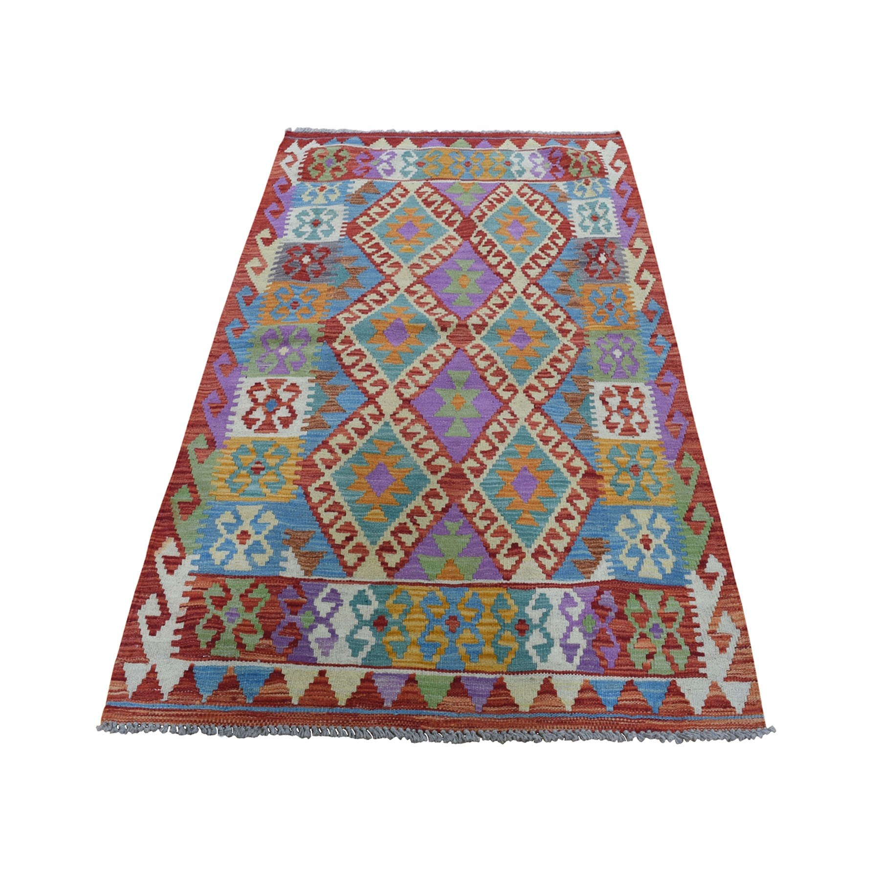 """3'4""""X5'6"""" Colorful Afghan Kilim Pure Wool Hand Woven Oriental Rug moad8add"""