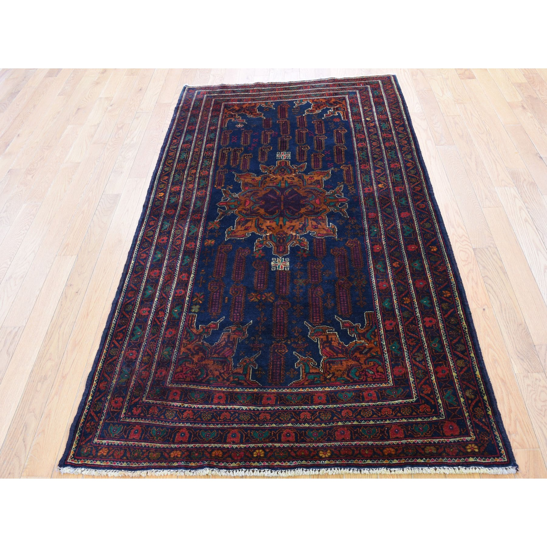 3-9 x6-7  Navy Blue Afghan Baluch Wide Runner Pure Wool Hand Knotted Oriental Rug