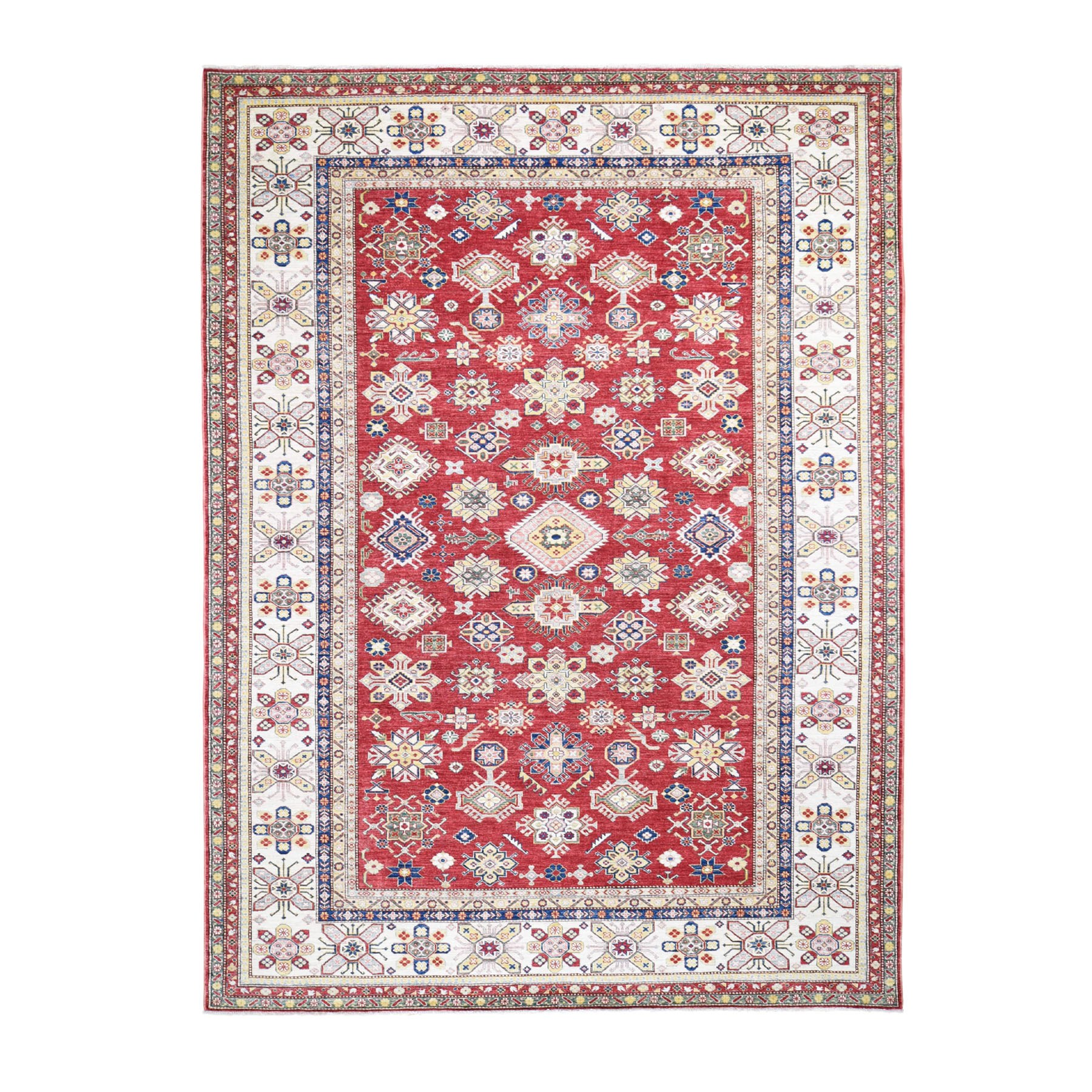 9'x12' Red Super Kazak Geometric Design Pure Wool Hand Knotted Oriental Rug