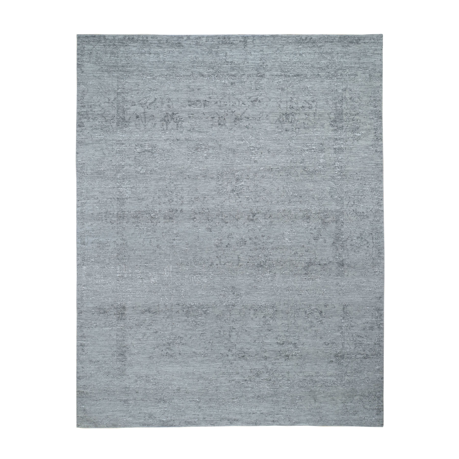 8'X10' Gray Tabriz Broken Design Wool And Silk Hand Knotted Oriental Rug moad8aeb