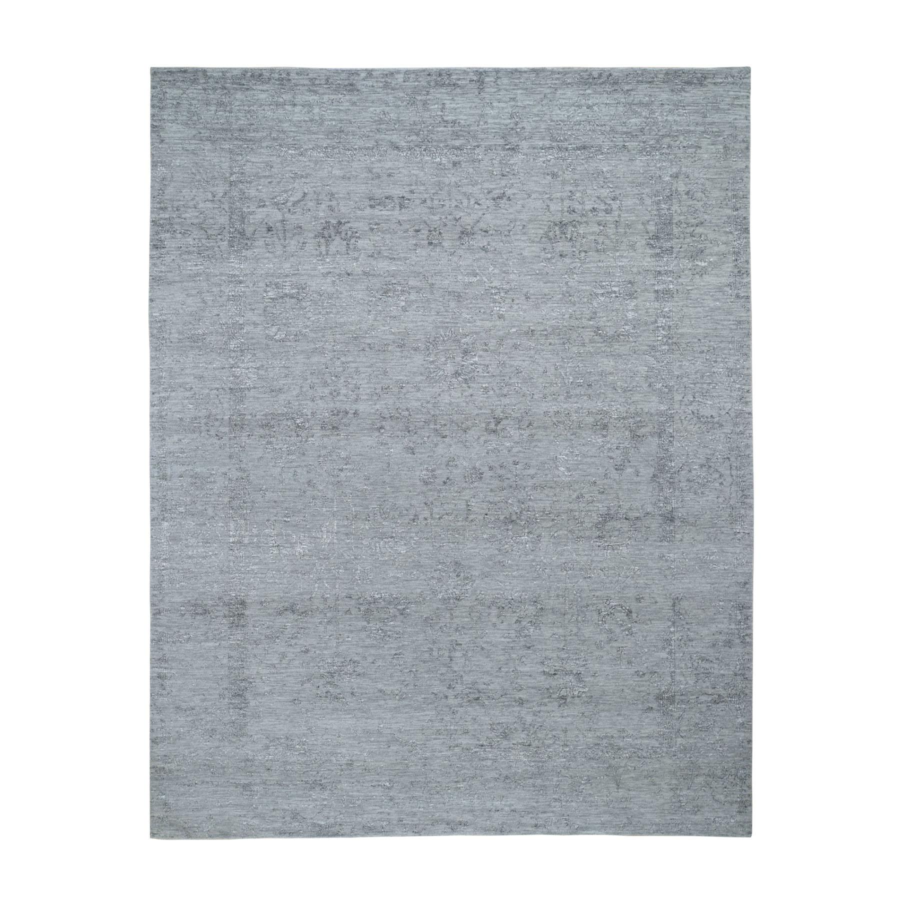 8'x10' Gray Tabriz Broken Design Wool And Silk Hand Knotted Oriental Rug