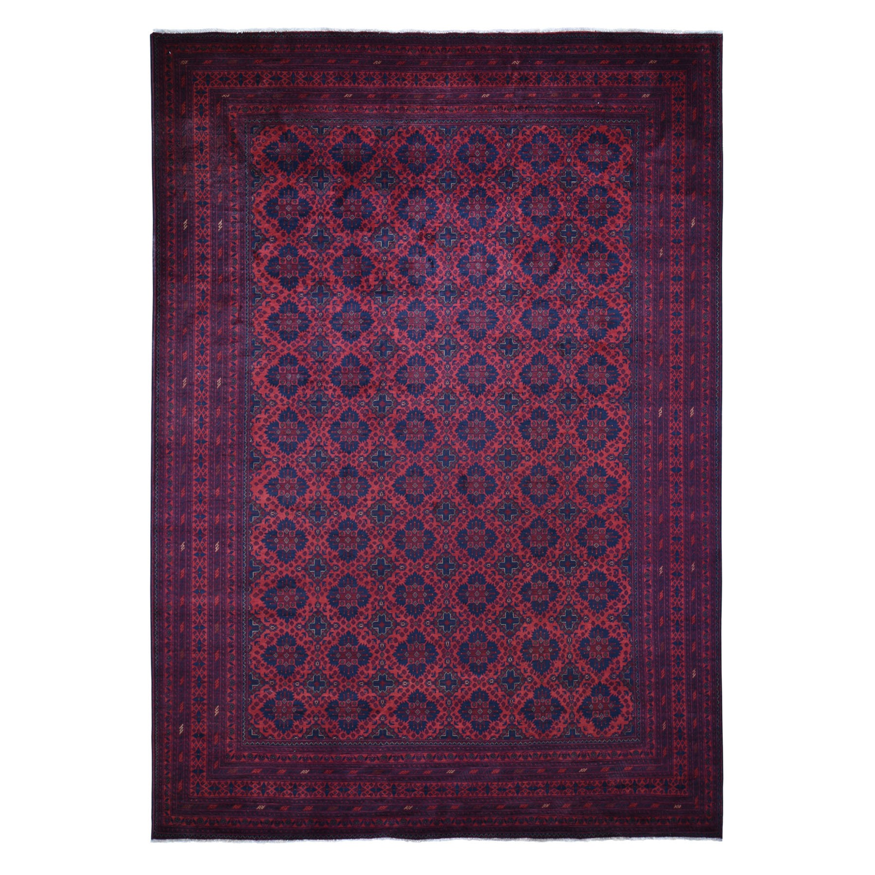 "9'9""x12'9"" Vintage Look Red Geometric Design Afghan Andkhoy Pure Wool Hand Knotted Oriental Rug"