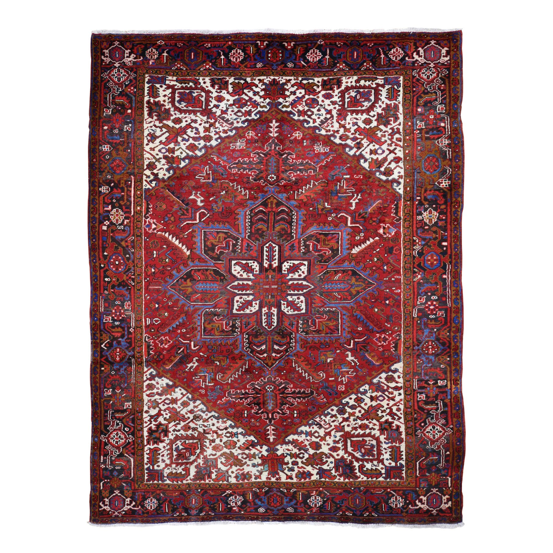 "7'7""x10'6""  Red Semi Antique Persian Heriz Exc Condition Hand Knotted Oriental Rug"