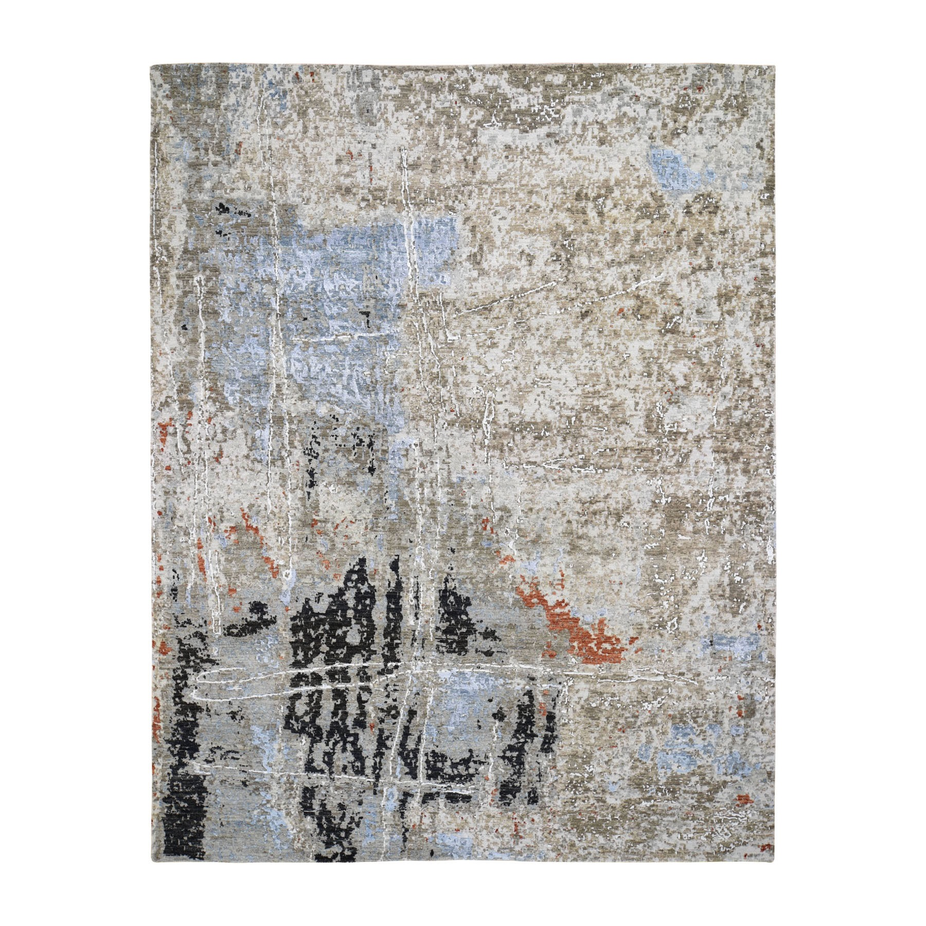 """8'x10'2"""" Abstract Design Wool and Silk Hi-Low Pile Tight Knot Hand Knotted Oriental Rug"""