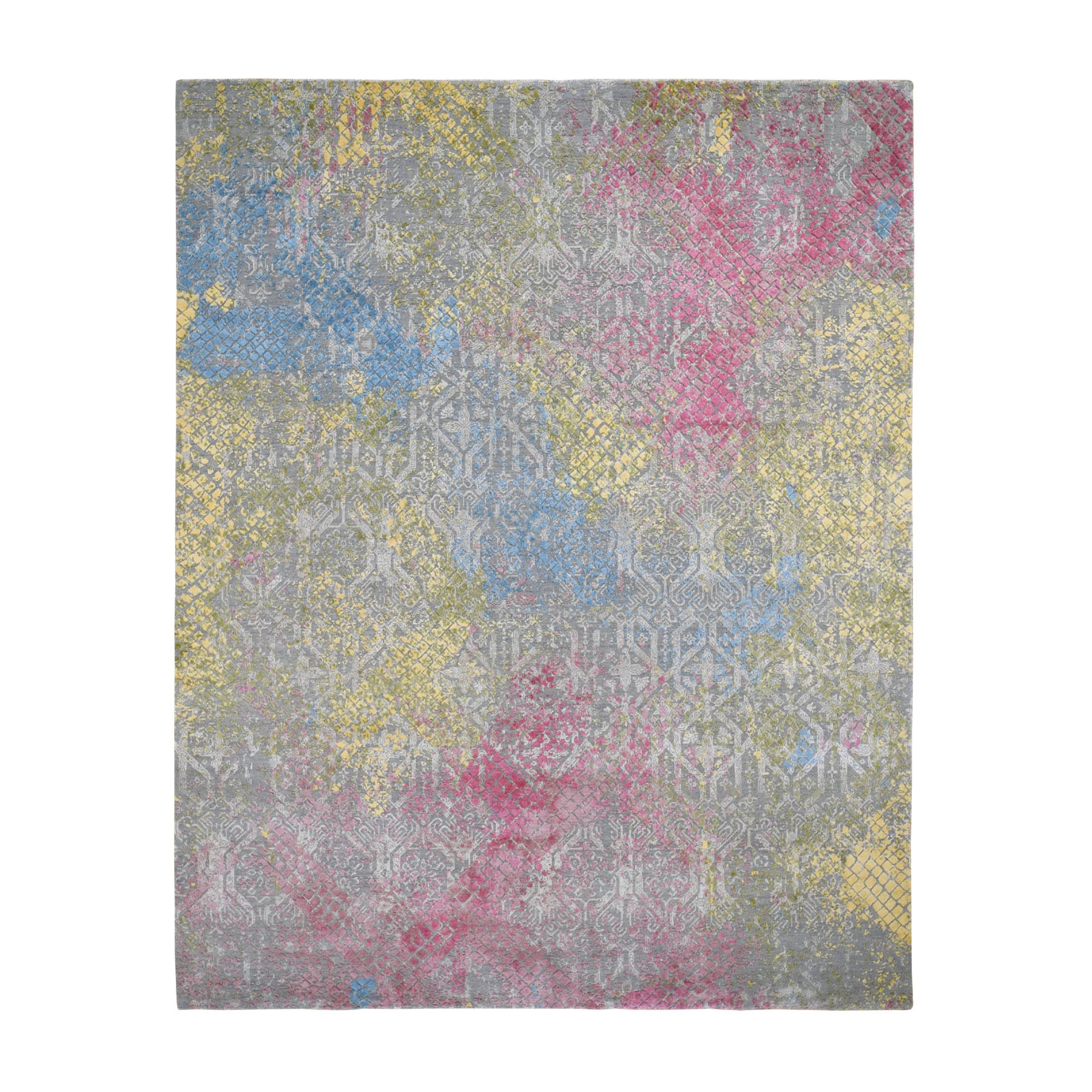 8'x10' TRELLIS IN THE SPRING Pure Silk Hi-Low Pile Gray Hand Knotted Oriental Rug