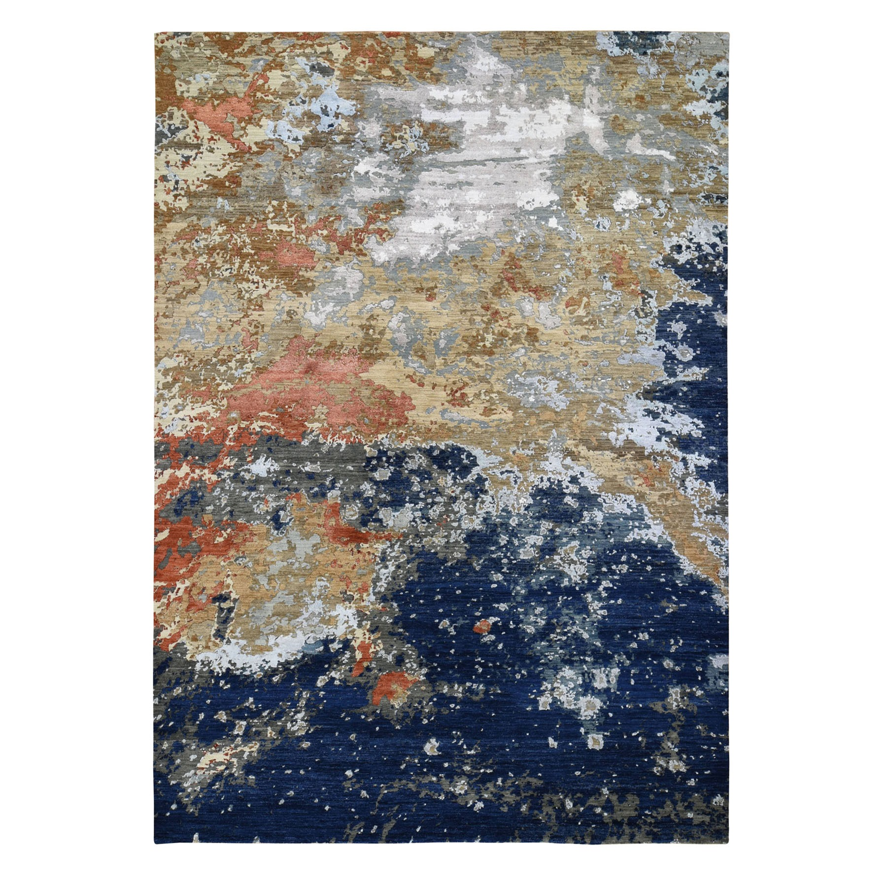 """9'x11'10"""" Blue Abstract Design Wool and Silk Hi-Low Pile Denser Weave Hand Knotted Oriental Rug"""