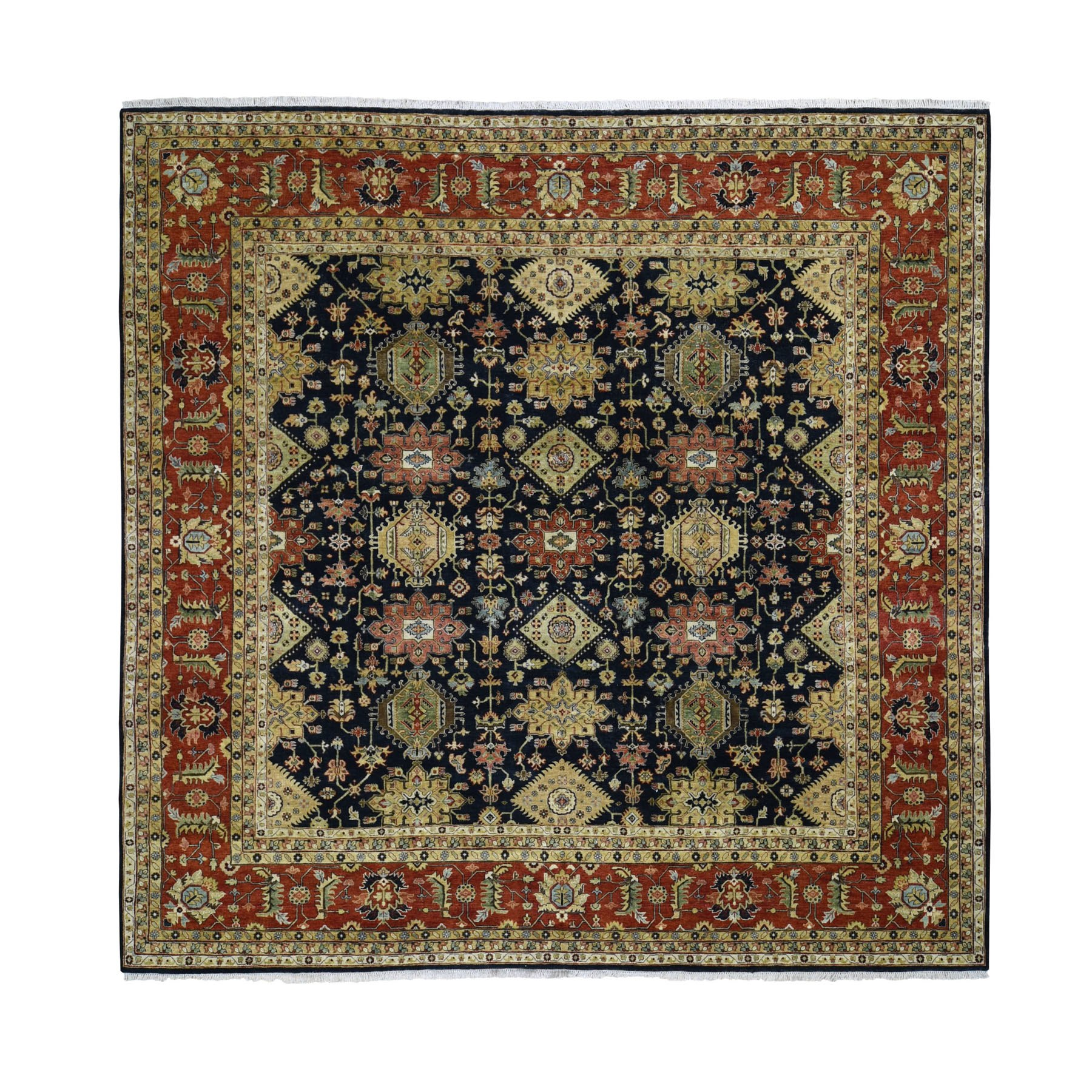 "11'9""x11'9"" Square Pure Wool Black Karajeh Hand Knotted Oriental Rug"