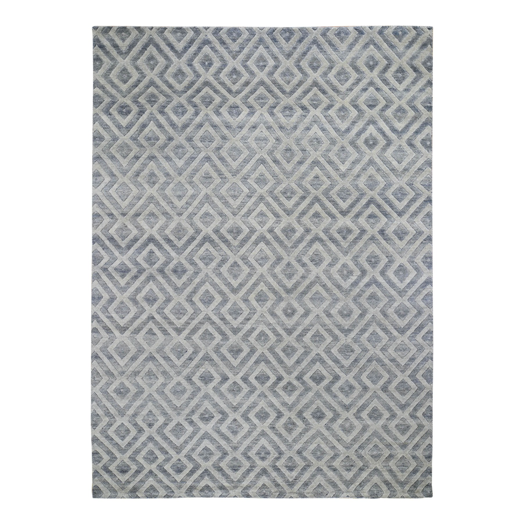 "8'10""x11'10"" Blue Pure Wool Geometric Design Hand Knotted Modern Thick And Plush Oriental Rug 48170"