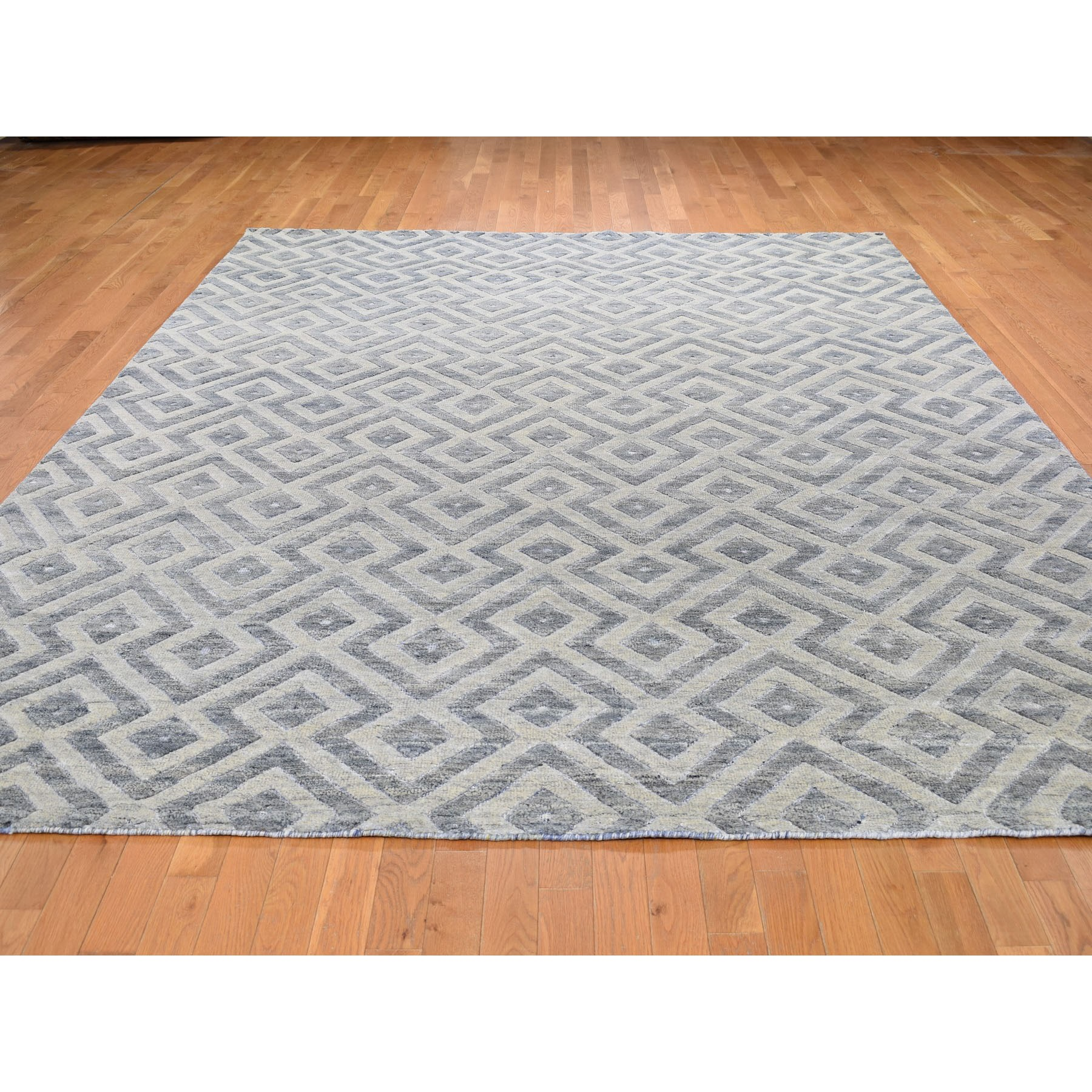 "8'10""x11'10"" Blue Pure Wool Geometric Design Hand Knotted Modern Thick And Plush Oriental Rug"