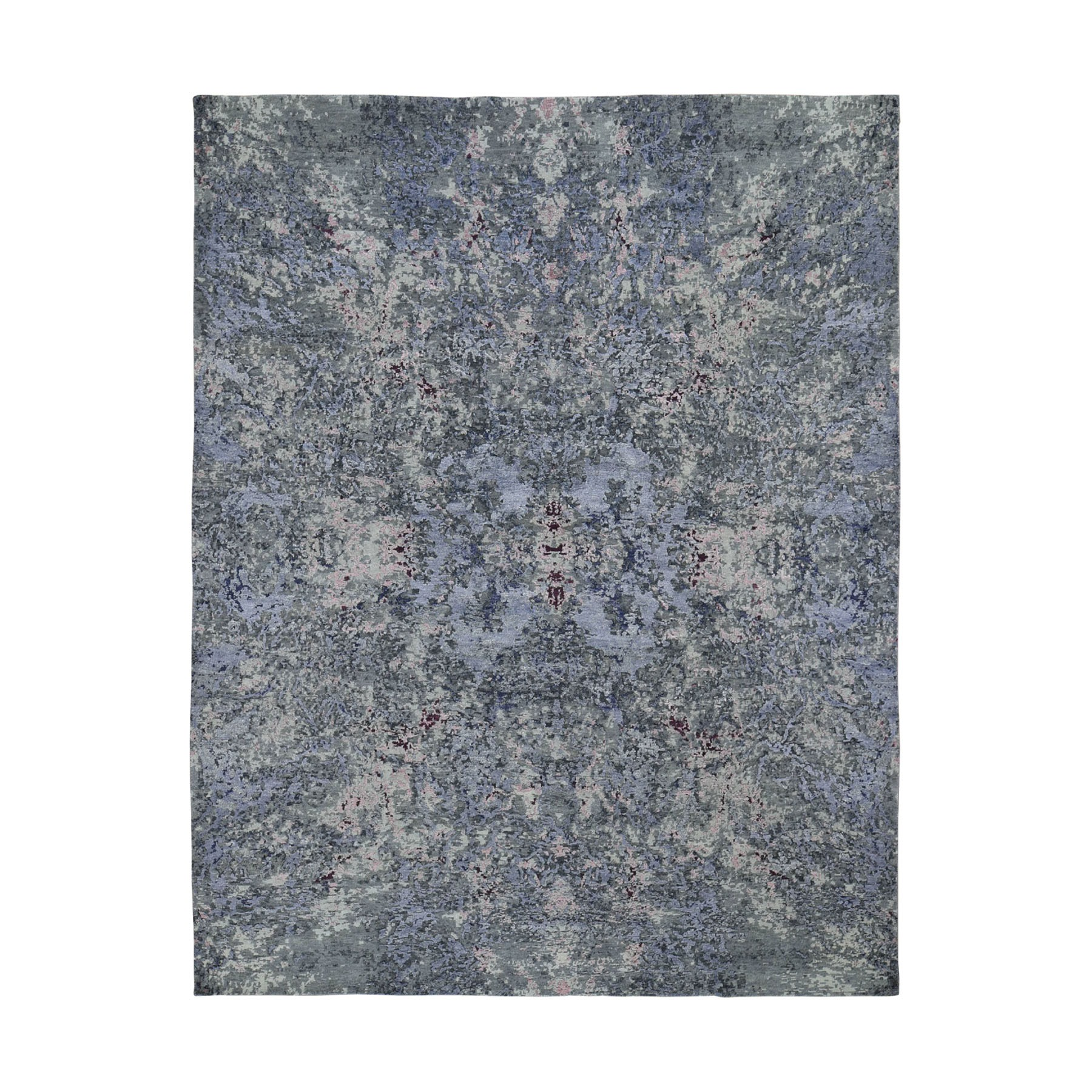 """8'2""""x9'10"""" Wool and Silk Abstract Design Hand-Knotted Oriental Rug"""