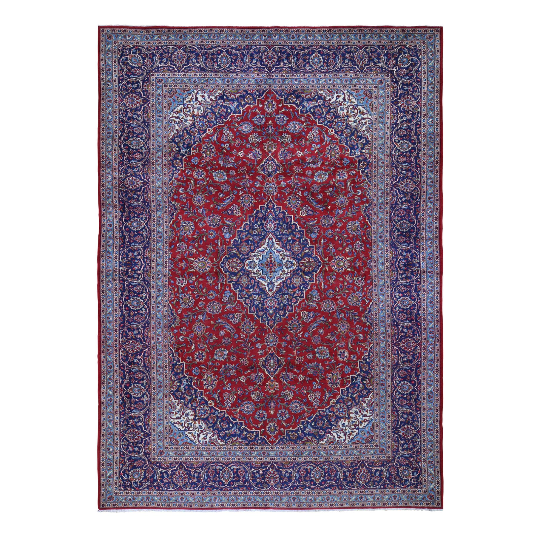 "9'8""x13'6"" Red Semi Antique Persian Kashan Full Pile Pure Wool Hand Knotted Oriental Rug"