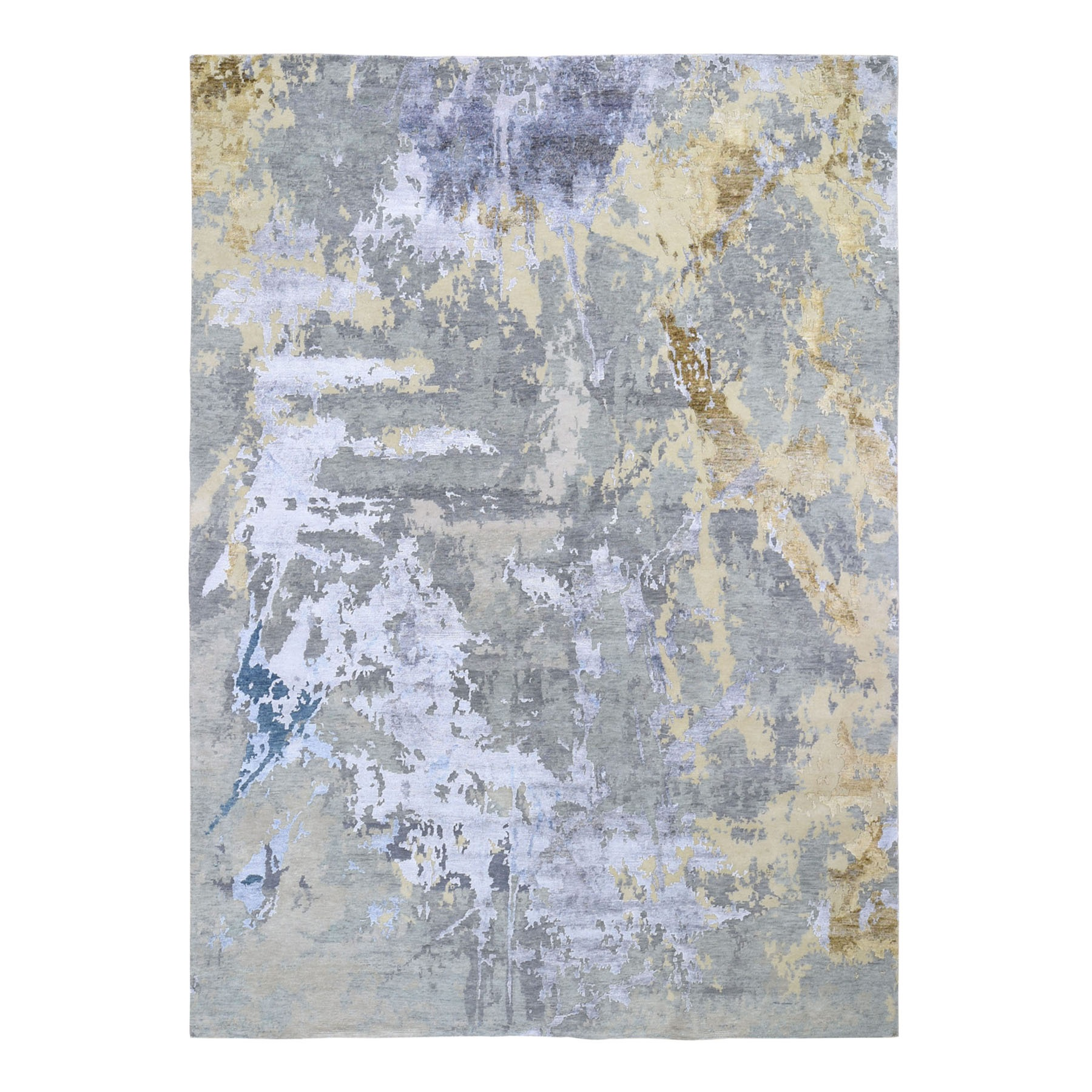 """9'1""""x11'10"""" Beige Abstract Paint Brush Design Wool and Silk Hand-Knotted Oriental Rug"""