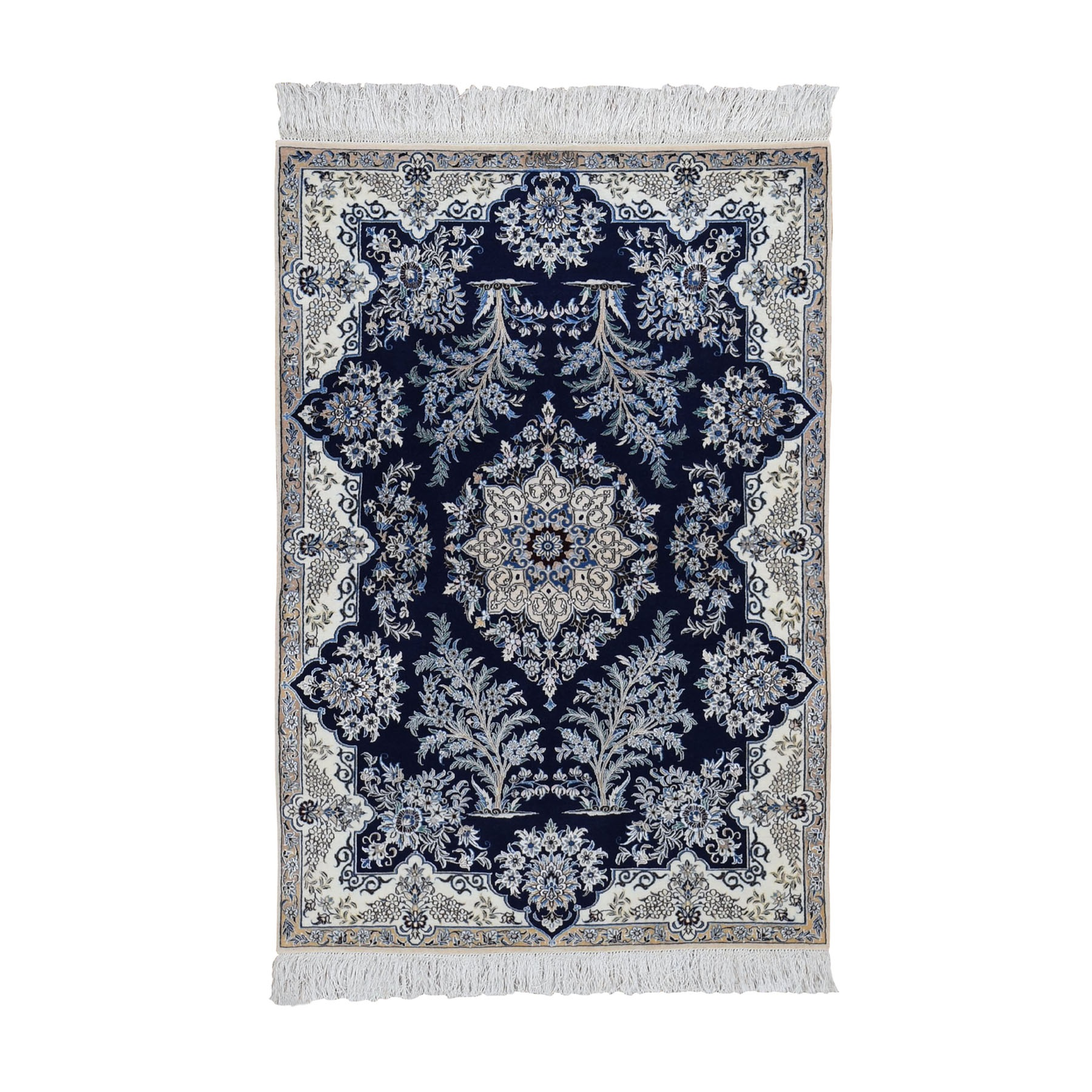 "3'2""x5' Wool And Silk Navy Blue Persian Nain 400 KPSI Signed Habibian Hand Knotted Oriental Rug"