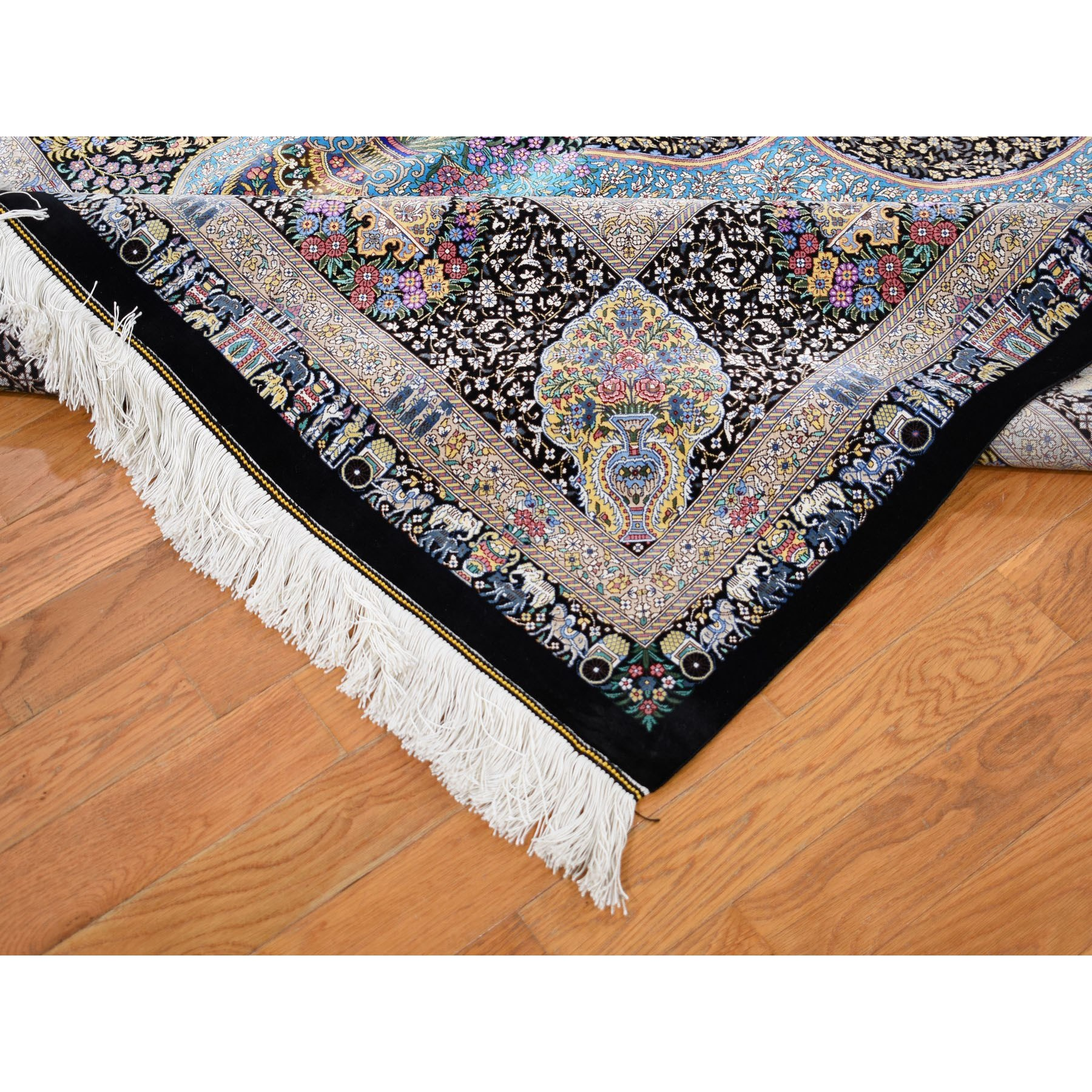 6-6 x10-2  Persian Silk Qum, Signed ,600 KPSI, Horse Carriages ,Kings, Hand Knotted Oriental Rug