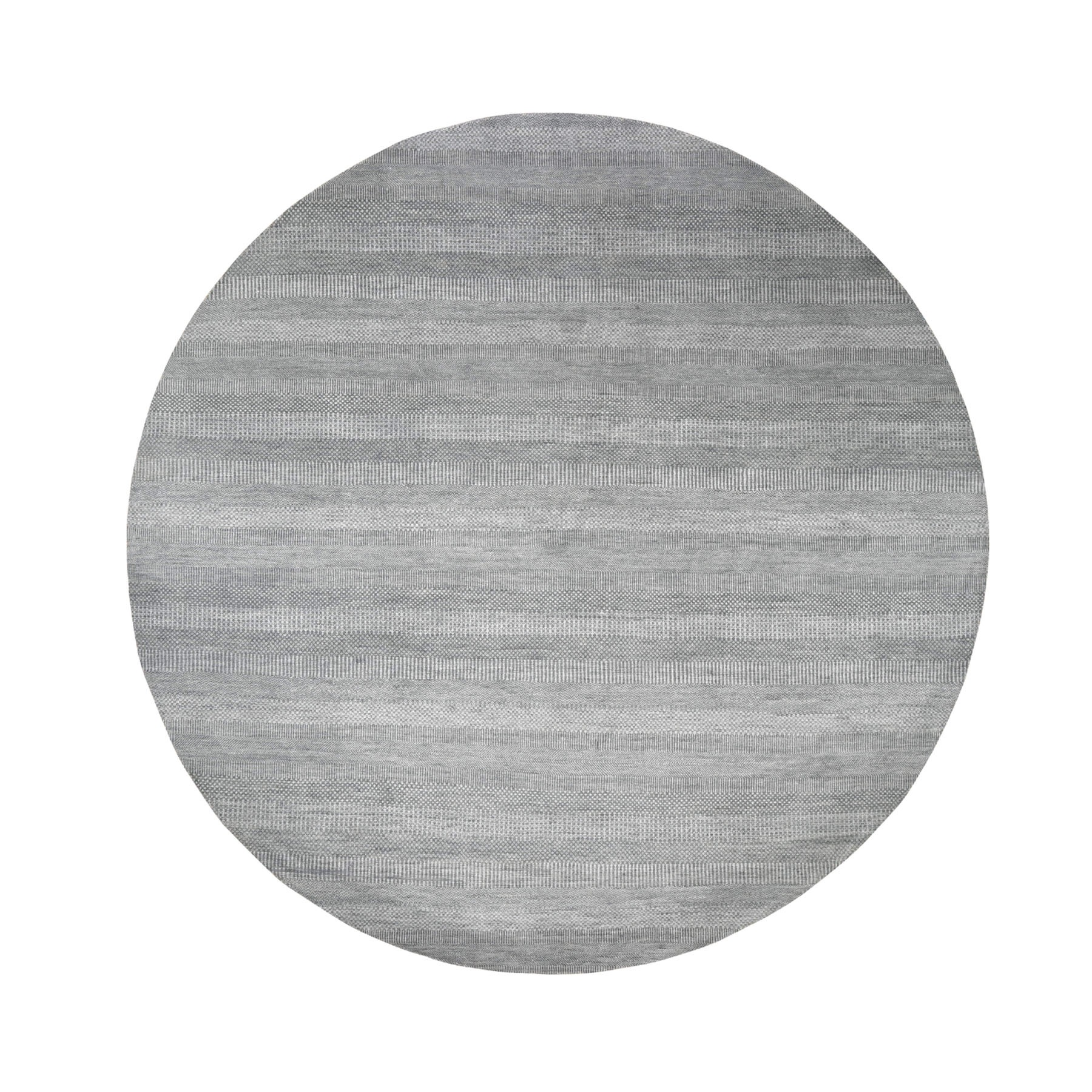 10'x10' Gray Round Wool and Silk Grass Design Hand Knotted Oriental Rug