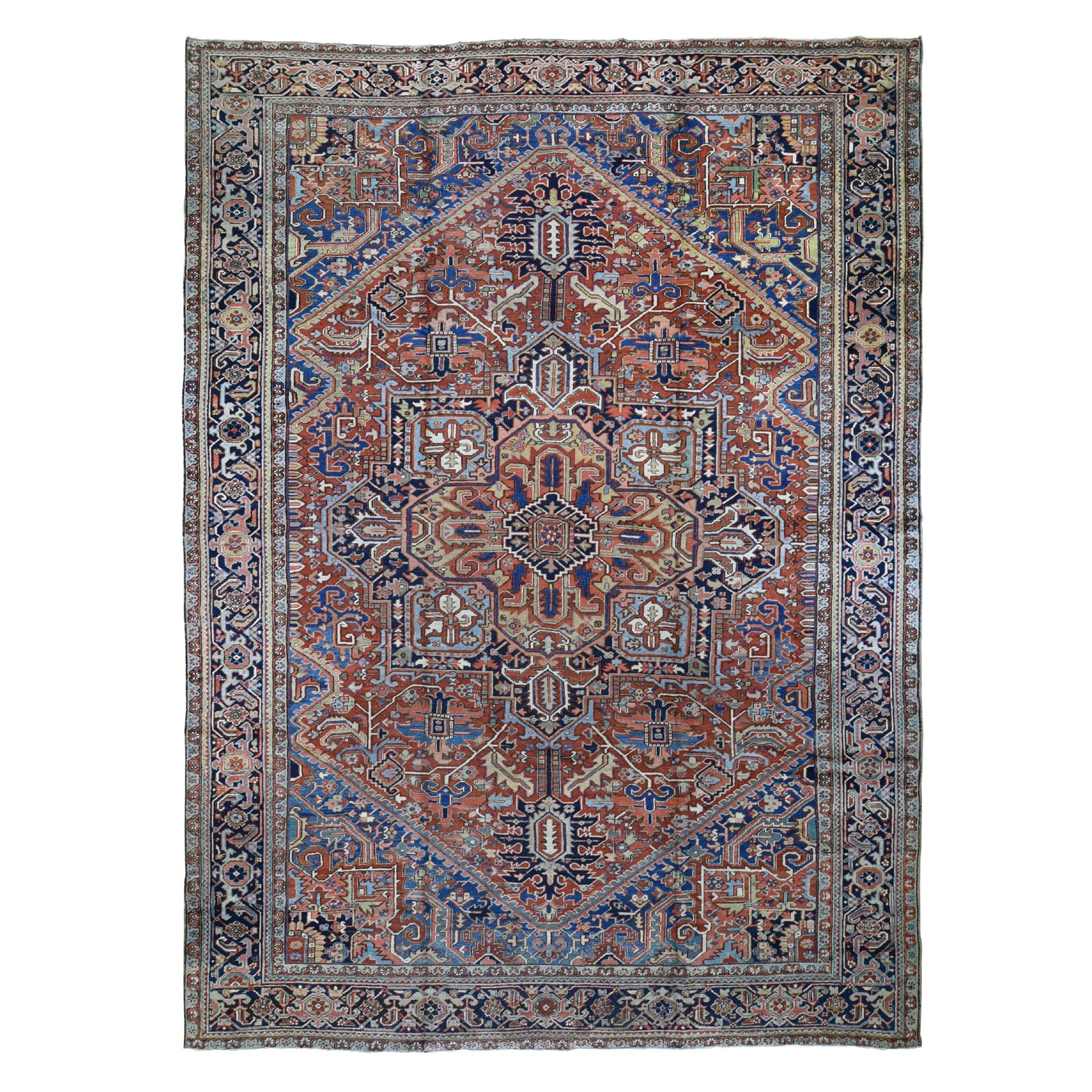 "11'8""x15'6"" Terracotta Oversized Antique Persian Heriz Even Wear Hand Knotted Oriental Rug"