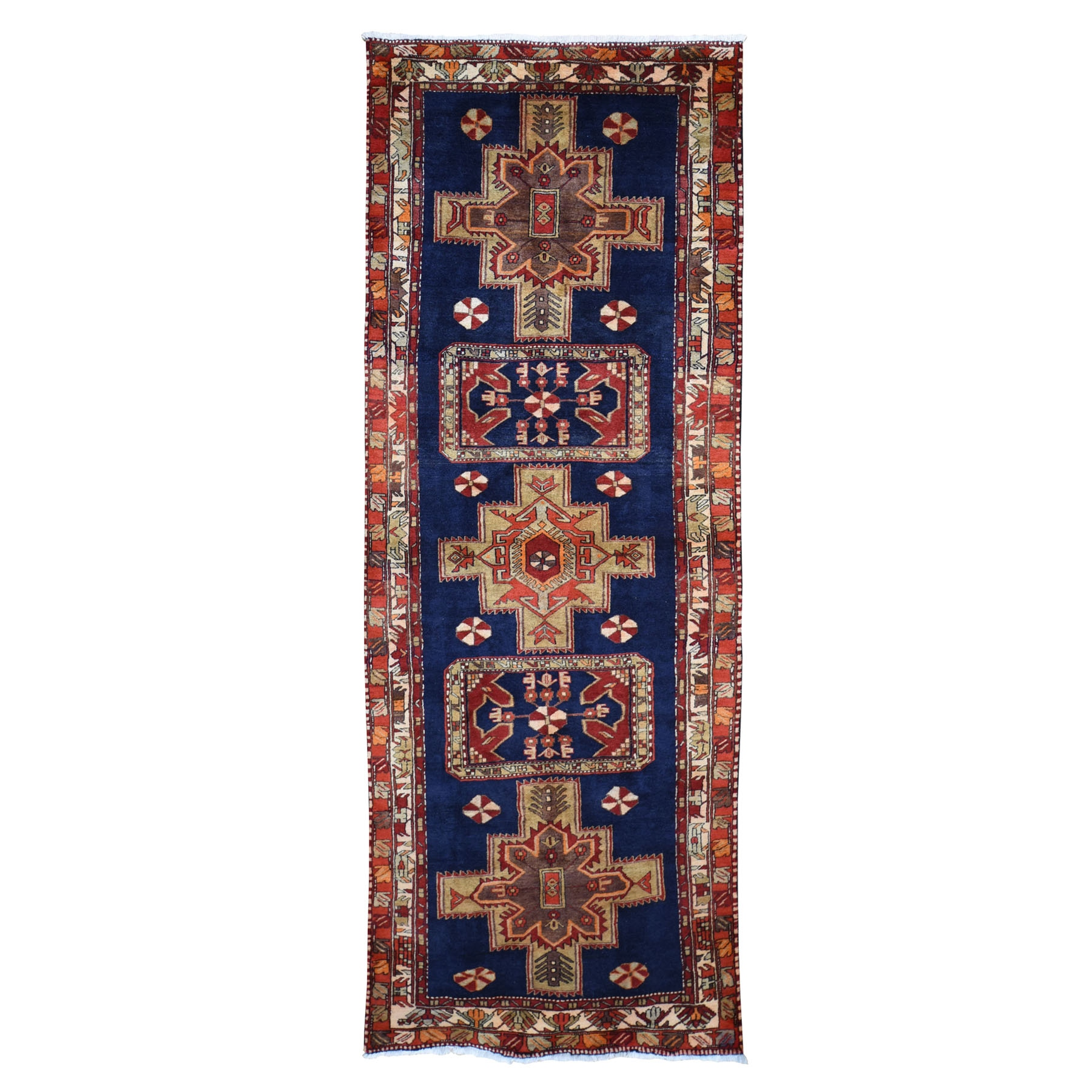 "3'10""x10'7""  Navy Blue Vintage North West Persian Wide Runner Hand Knotted Oriental Tribal Rug"