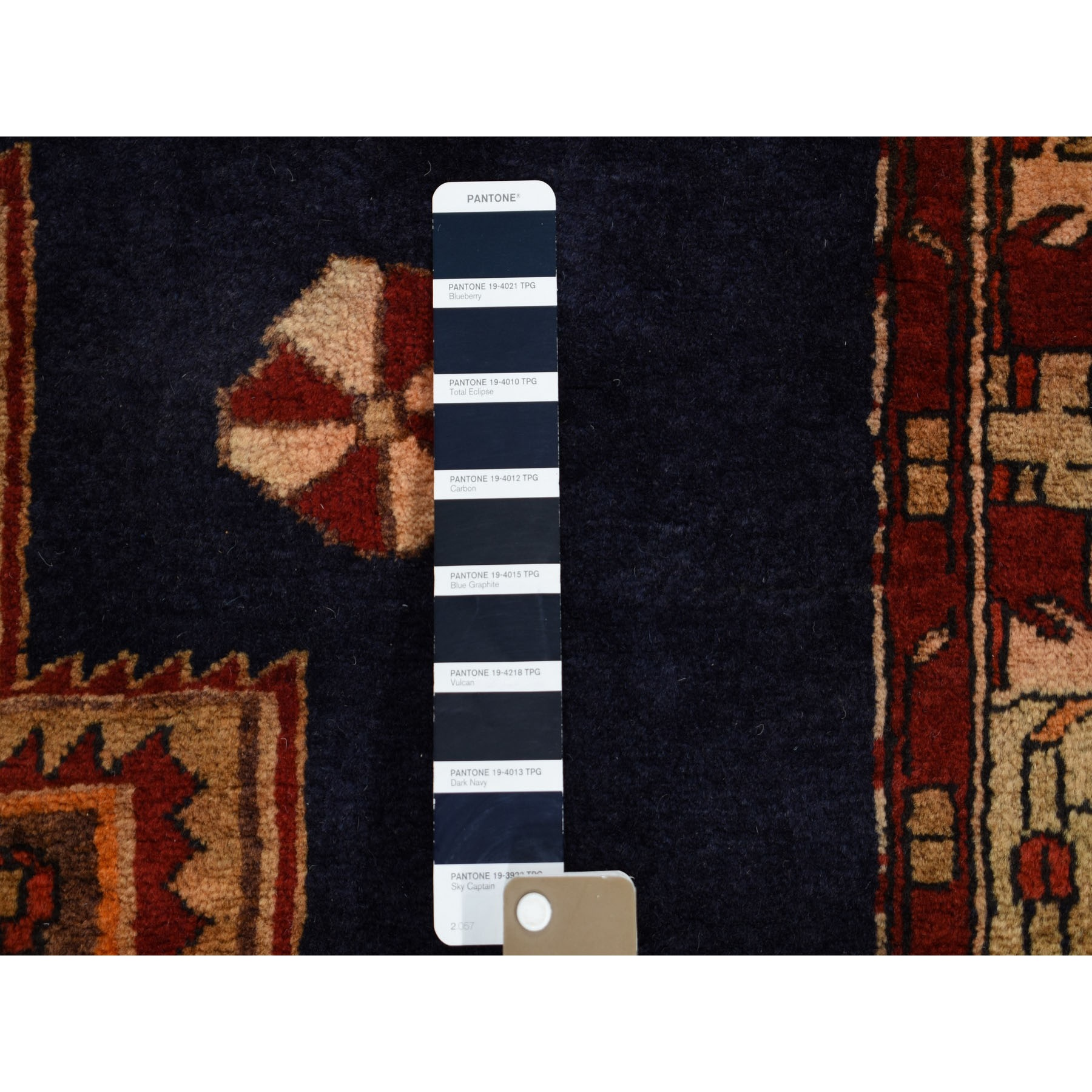 3-10 x10-7   Navy Blue Vintage North West Persian Wide Runner Hand Knotted Oriental Tribal Rug