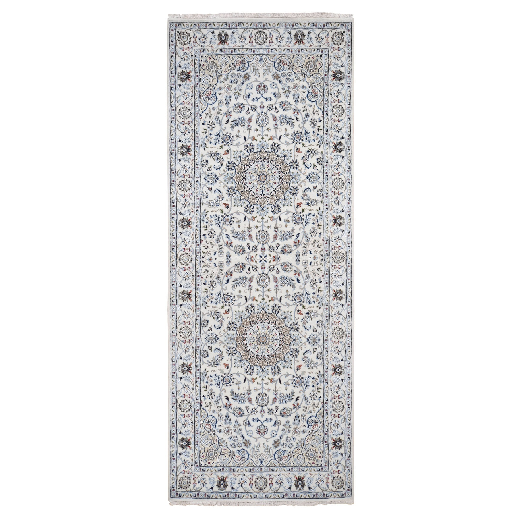"4'x10'3"" Ivory Wide Runner Nain Wool And Silk 250 KPSI Hand Knotted Oriental Rug"