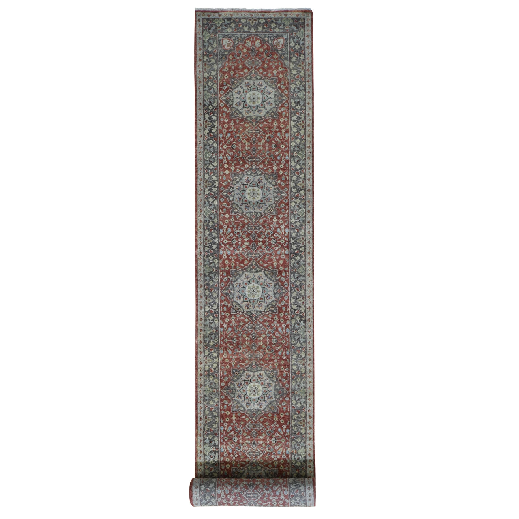 "2'6""X15'10""  Hand Knotted Xl Runner Antiqued Tabriz Haji Jalili Re-Creation Oriental Rug moad8a88"