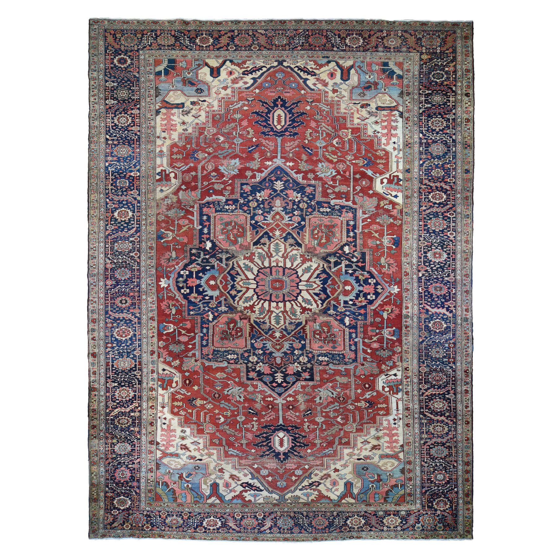 "12'1""X19'5"" Large Size Original Antique Persian Serapi Heriz Some Wear Clean Hand Knotted Oriental Rug moad8a9c"