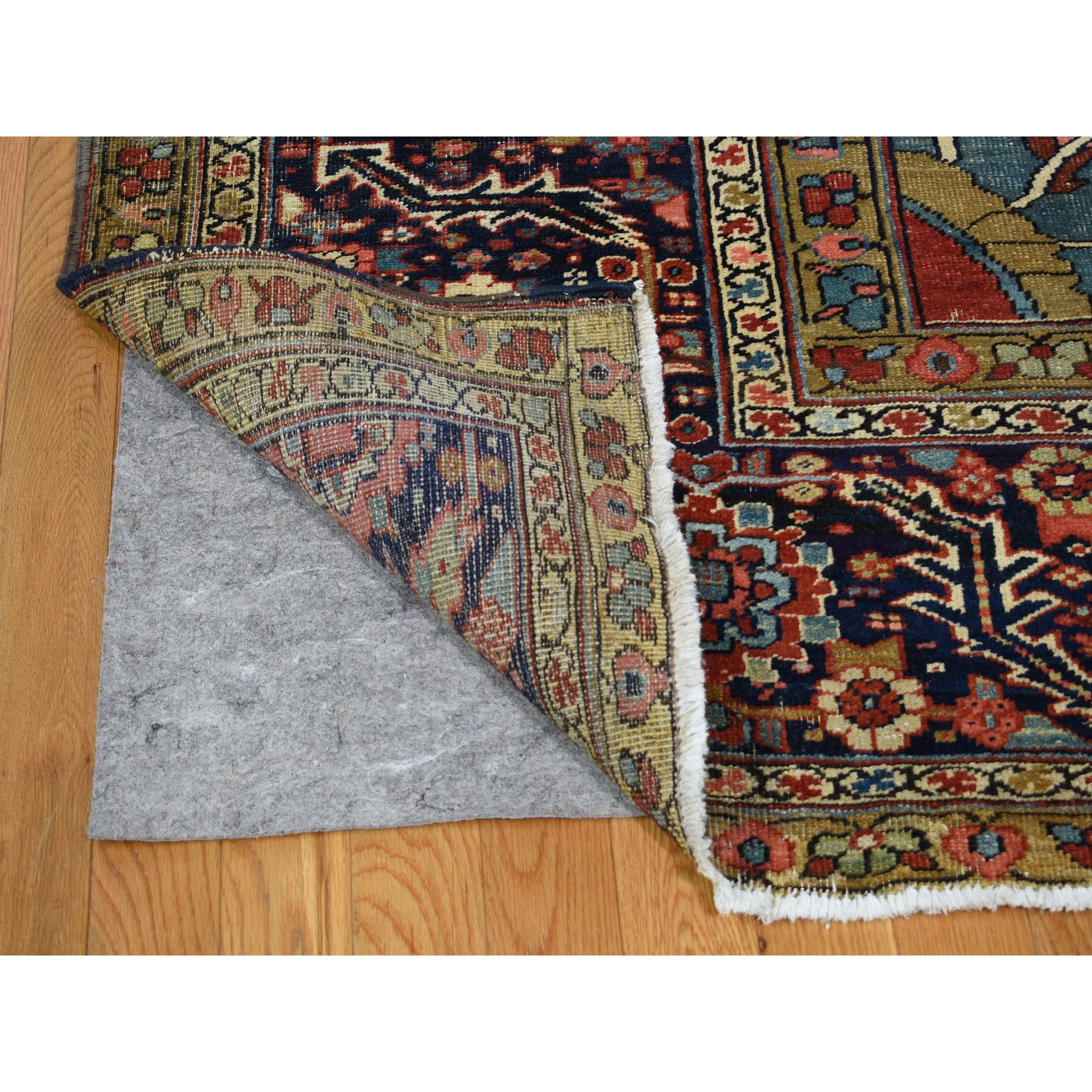 """12'1""""x19'5"""" Large Size Original Antique Persian Serapi Heriz Some Wear Clean Hand Knotted Oriental Rug"""