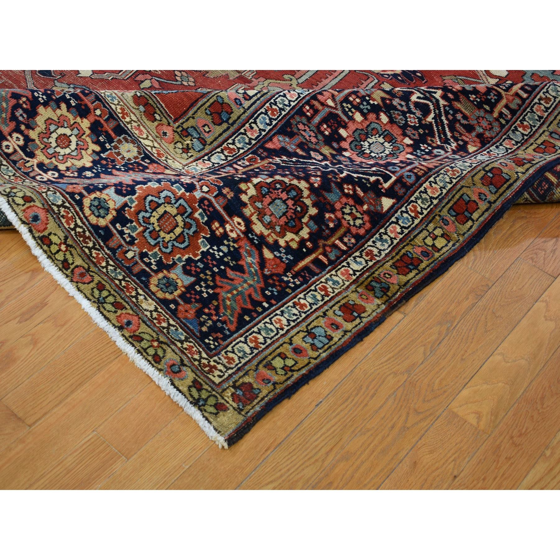 "12'1""x19'5"" Large Size Original Antique Persian Serapi Heriz Some Wear Clean Hand Knotted Oriental Rug"