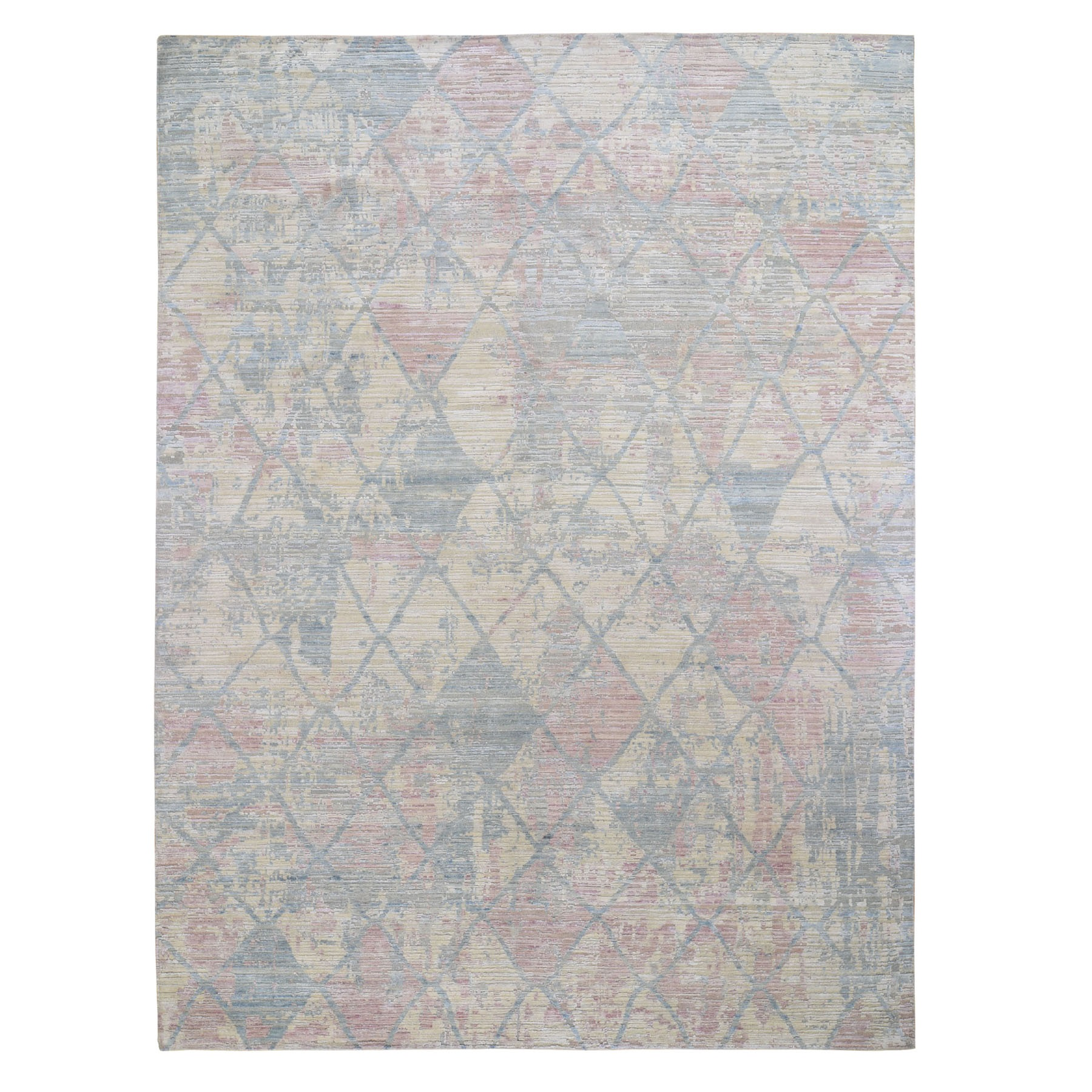 "9'x11'10"" Pastel Colors Textured Wool And Pure Silk Genuine Hand Knotted Oriental Rug"