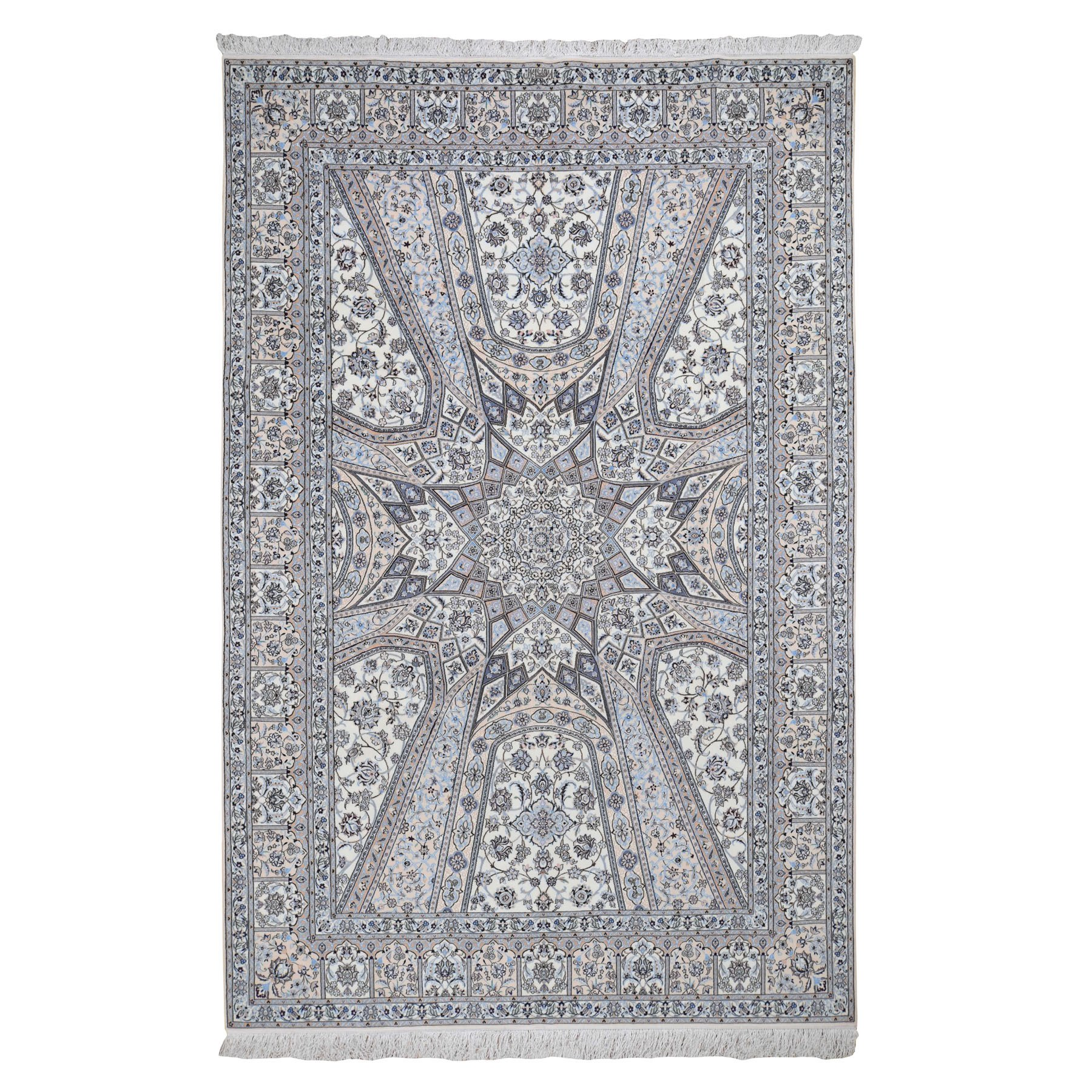 "6'8""x10'4"" New Persian Nain Wool And Silk 400 KPSI Signed Habibian ,Gumbad Design Hand Knotted Oriental Rug"
