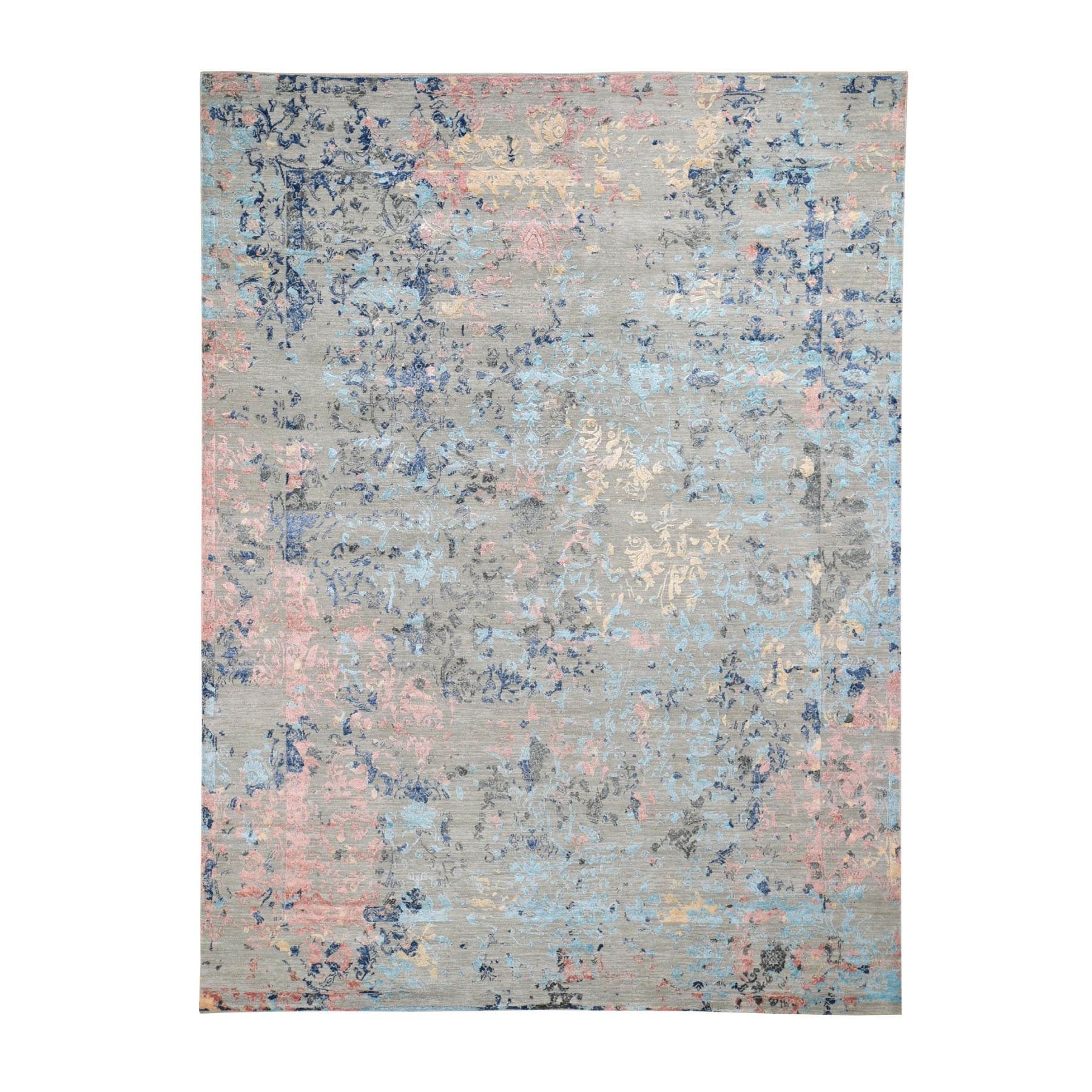 "8'X10'3"" Pastel Wool And Silk Transitional Colorful Agra Hand Knotted Oriental Rug moad8b00"