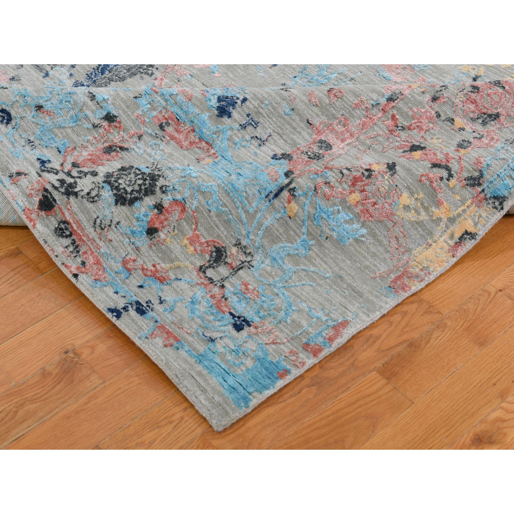 "8'x10'3"" Pastel Wool And Silk Transitional Colorful Agra Hand Knotted Oriental Rug"
