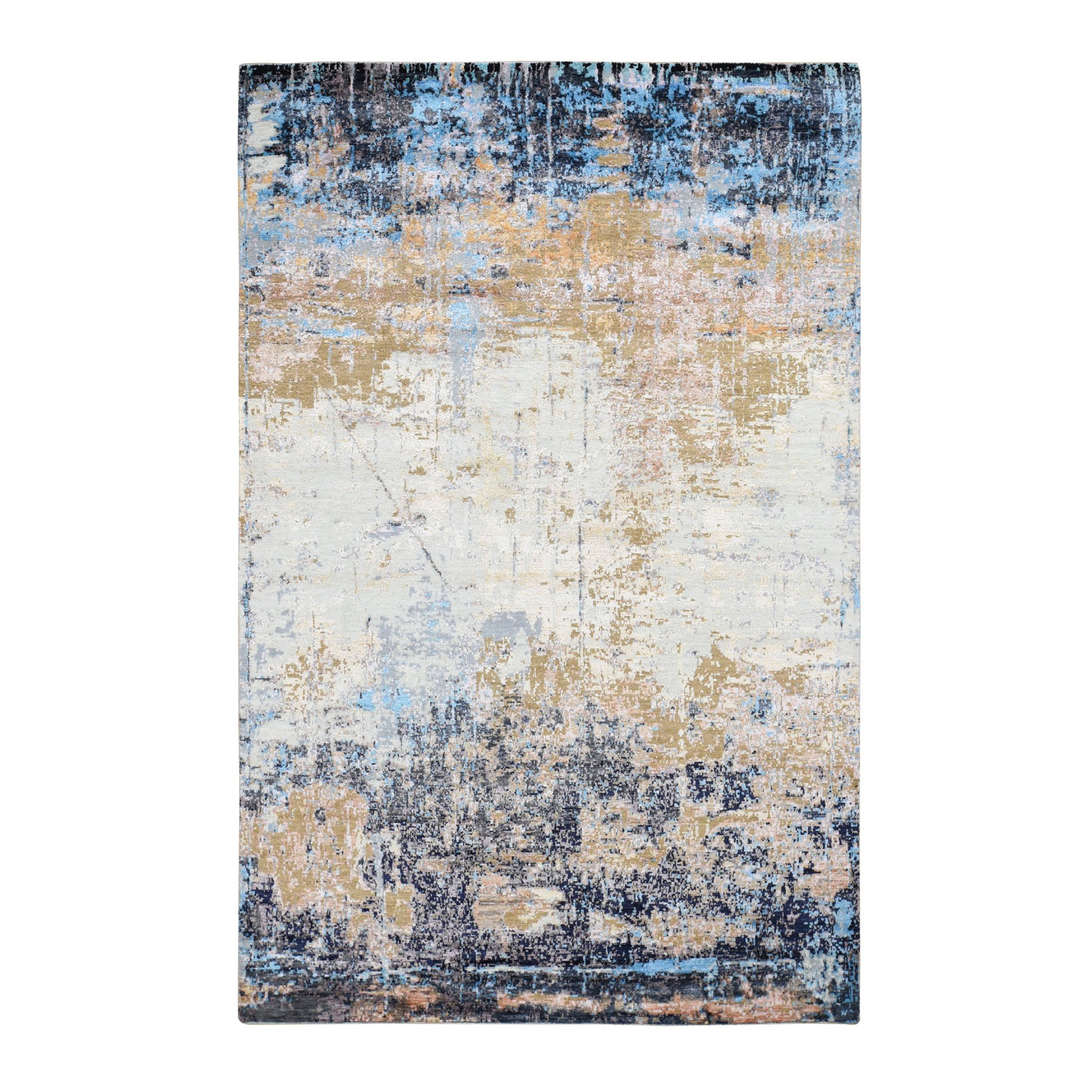 """6'x9'2"""" Wool and Silk Abstract Design Hand-Knotted Oriental Rug"""