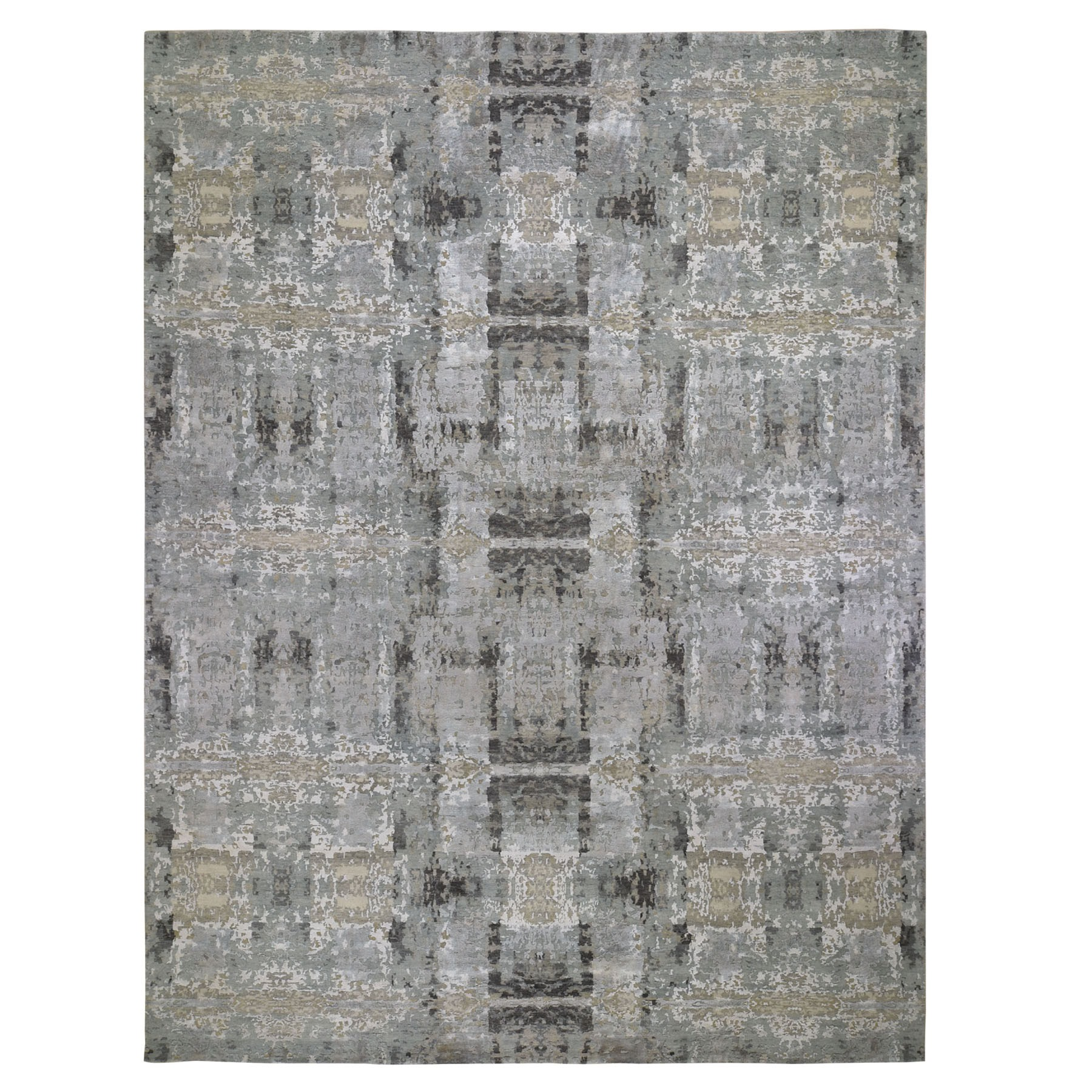 """11'10""""x14'10""""  Oversized Silver Abstract Design Hi-Lo Pile Wool And Silk Hand Knotted Oriental Rug"""