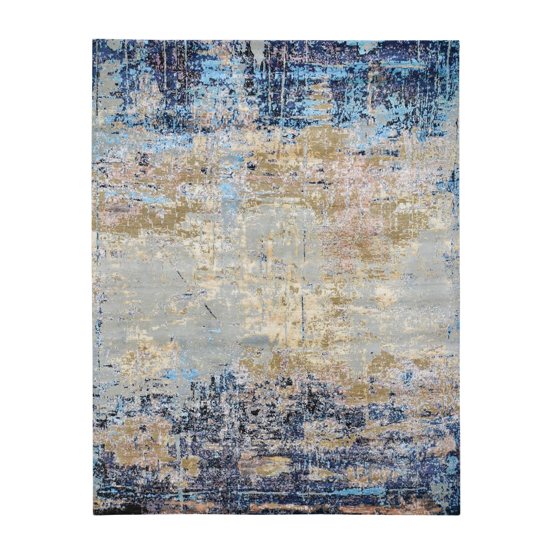 "8'1""X10' Wool And Silk Abstract Design Hand Knotted Oriental Rug moad8b06"