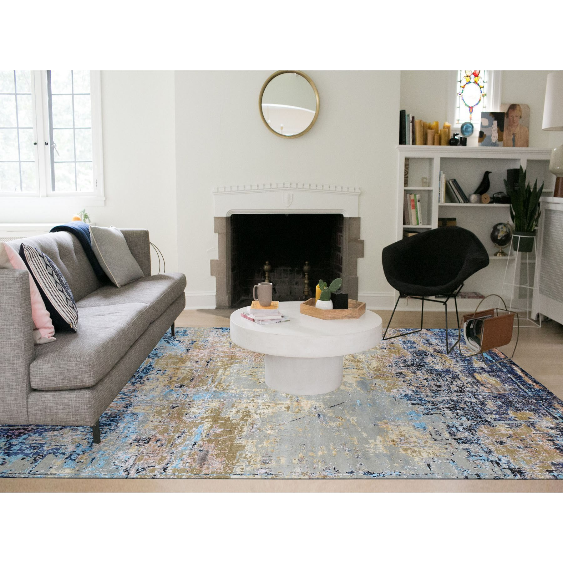 """8'1""""x10' Wool and Silk Abstract Design Hand Knotted Oriental Rug"""