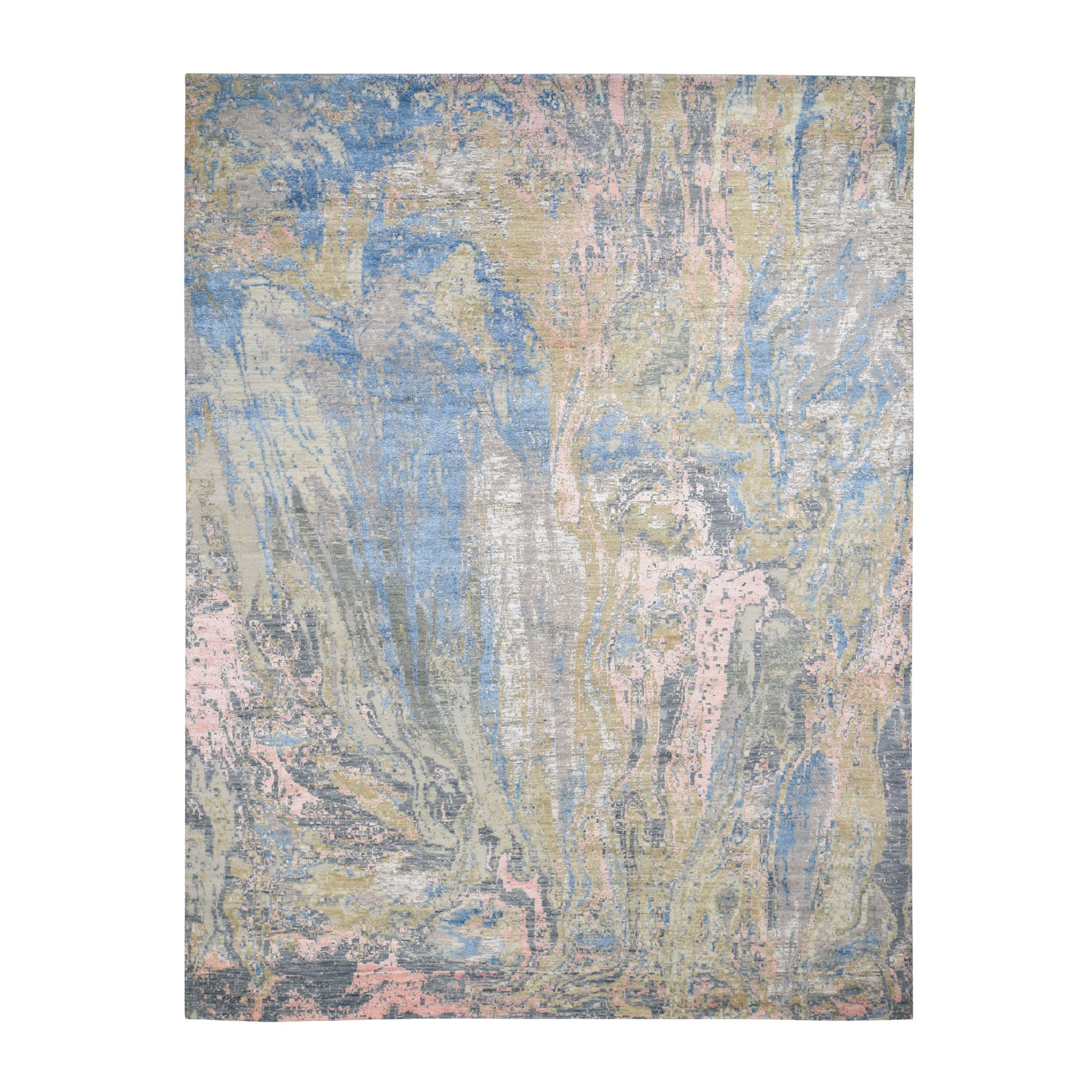 "7'10""x10'3"" Pastel Color Geological Design Wool And Silk Hand Knotted Oriental Rug"