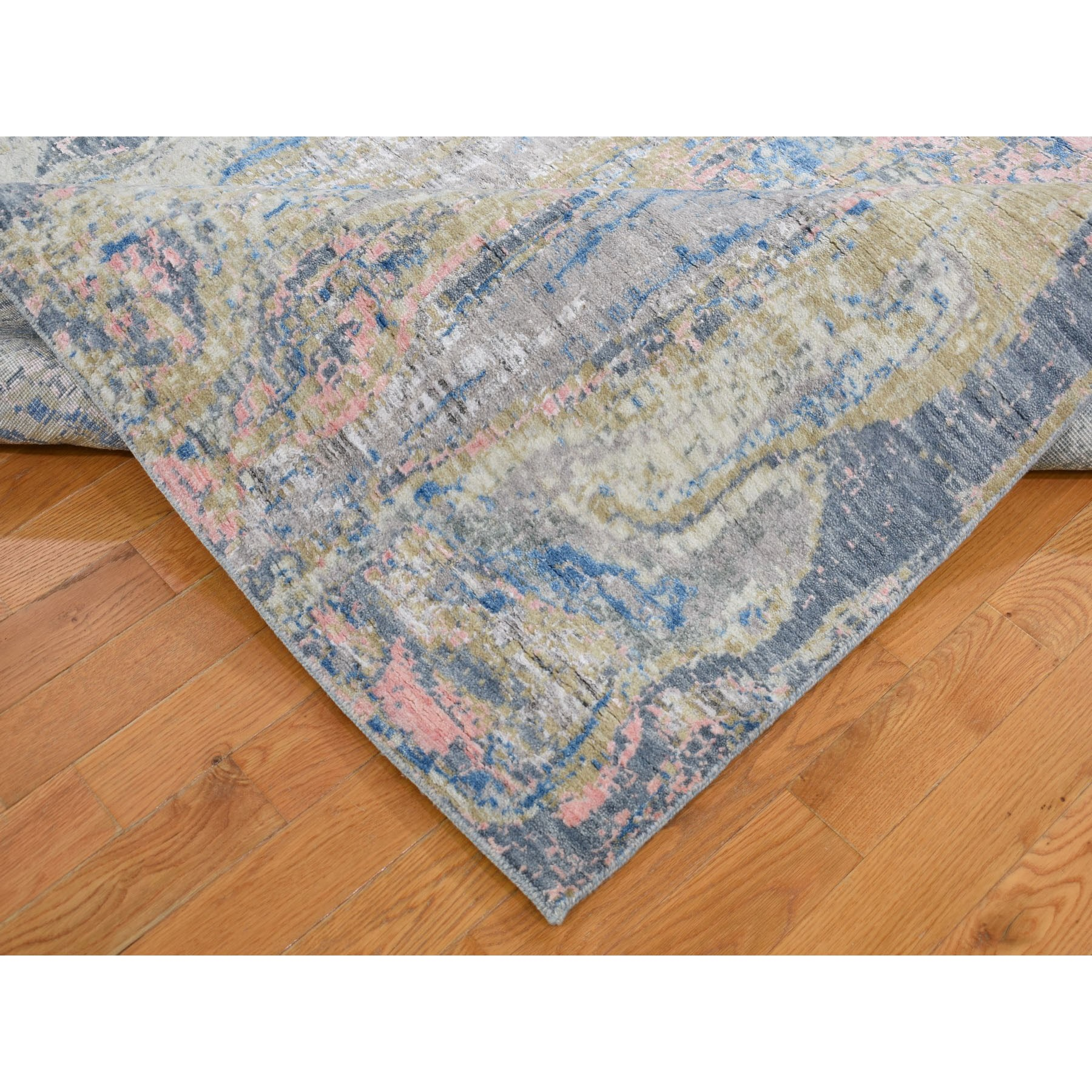 7-10 x10-3  Pastel Color Geological Design Wool And Silk Hand Knotted Oriental Rug