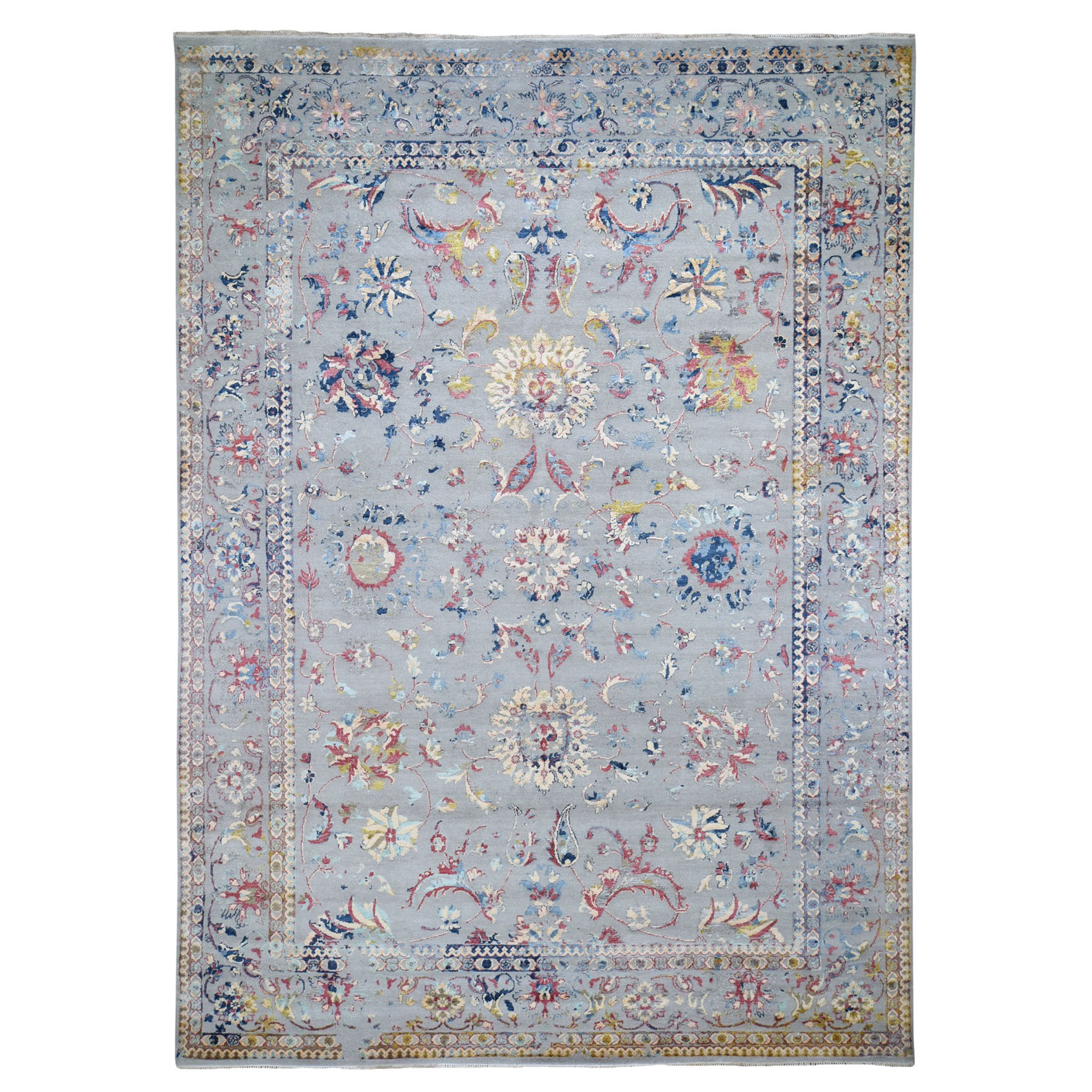 "9'x12'3"" Transitional Agra With Pop Of Color Wool And Silk Hand Knotted Oriental Rug"