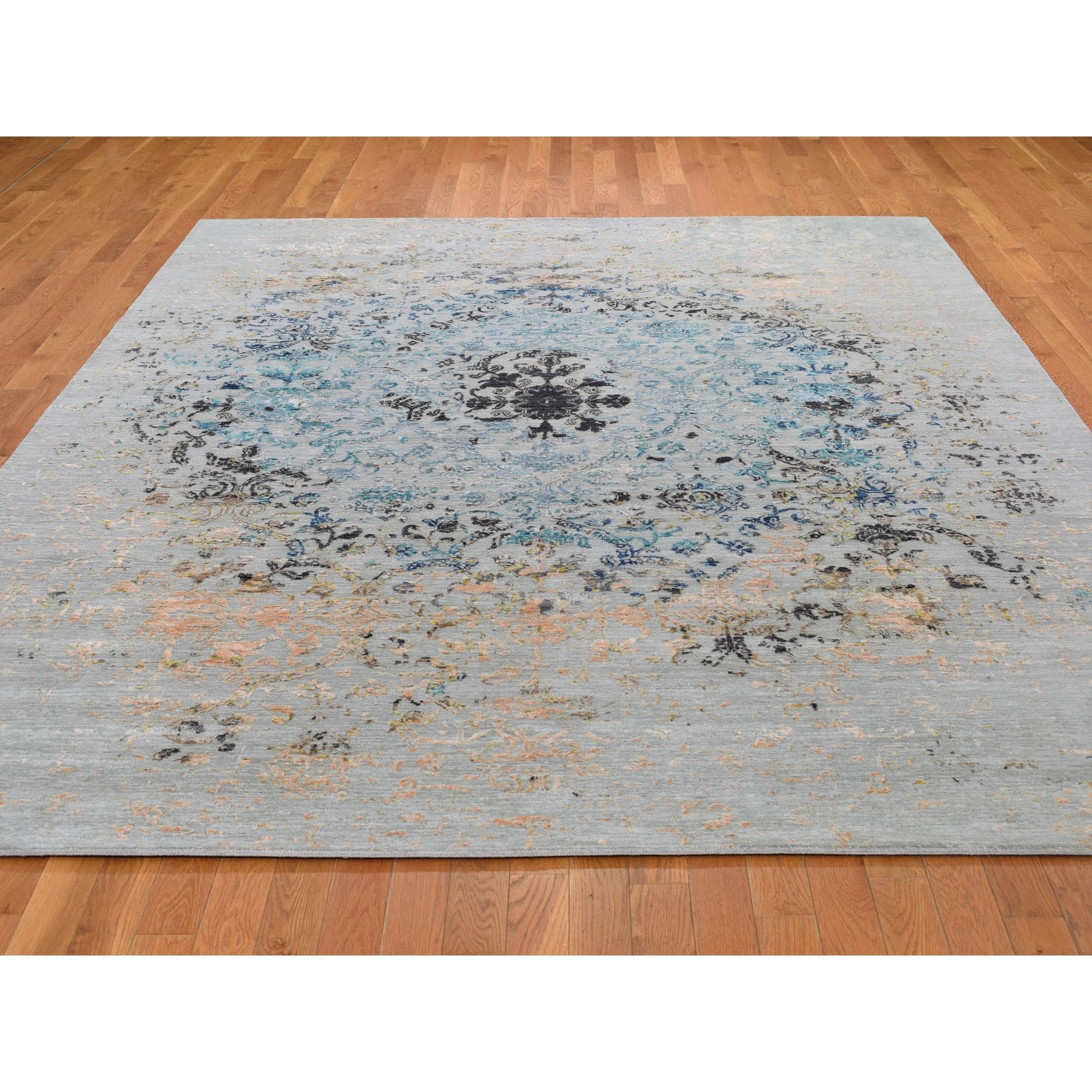 8-x10- Transitional Agra With Pop Of Color Wool And Silk Hand Knotted Oriental Rug