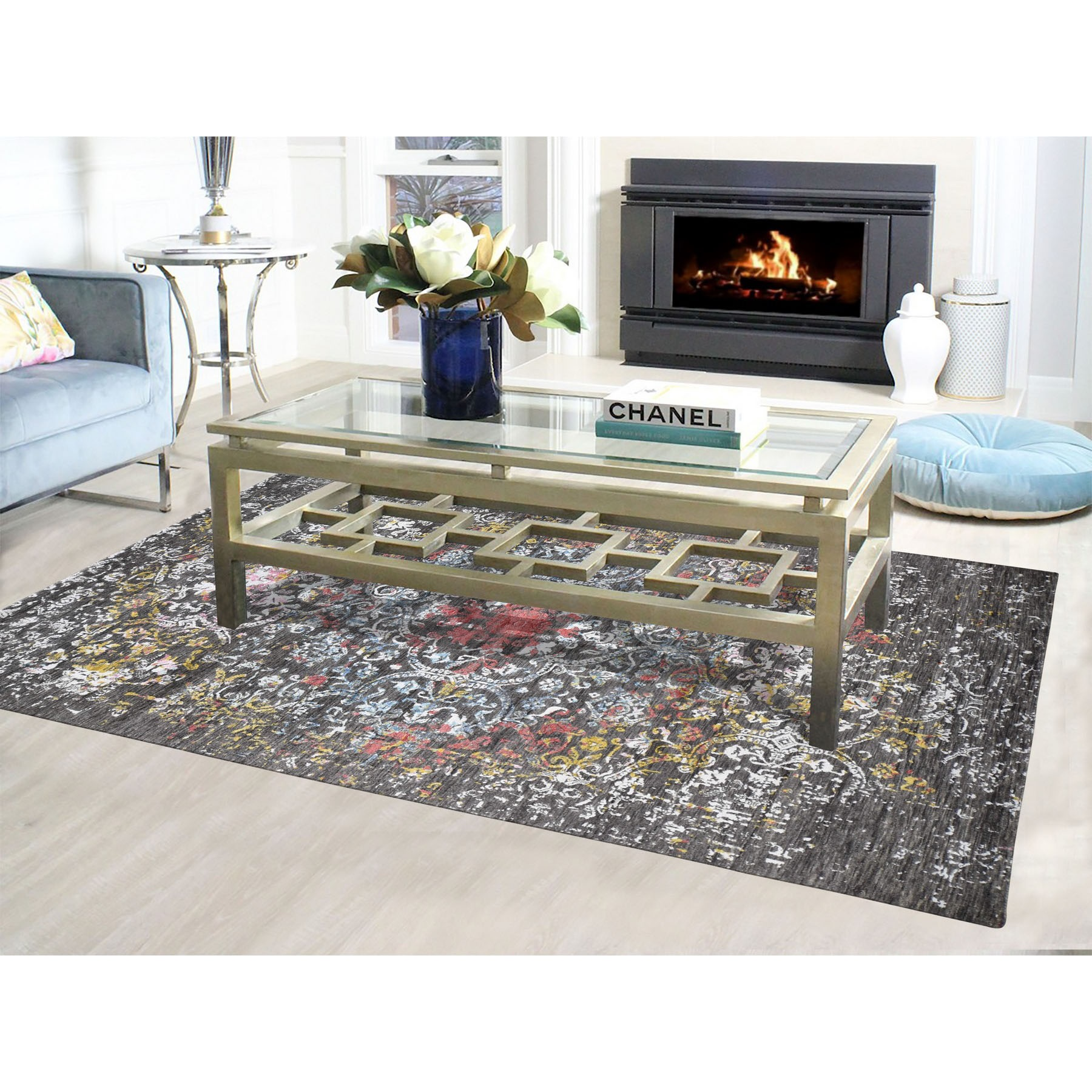 6-1 X9-2  Transitional Agra With Pop Of Color Wool And Silk hand Knotted Rug