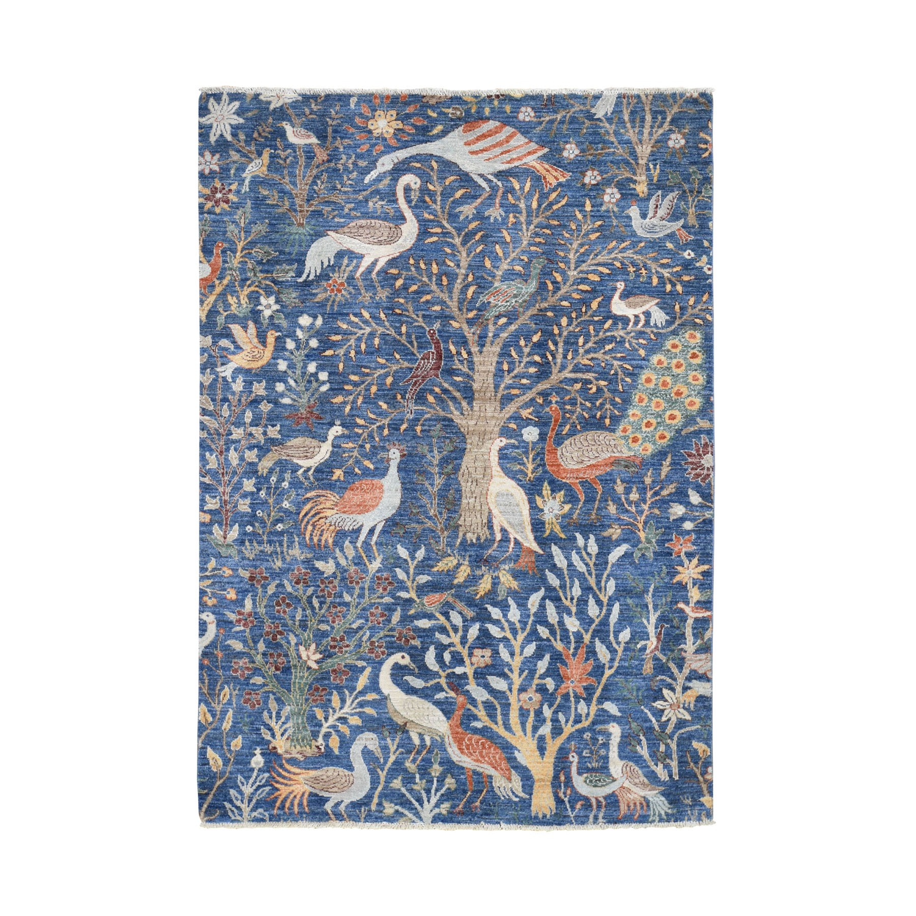 """5'1""""x7'2"""" Birds of Paradise Tree of Life Peshawar Pure Wool Hand Knotted Oriental Rug"""