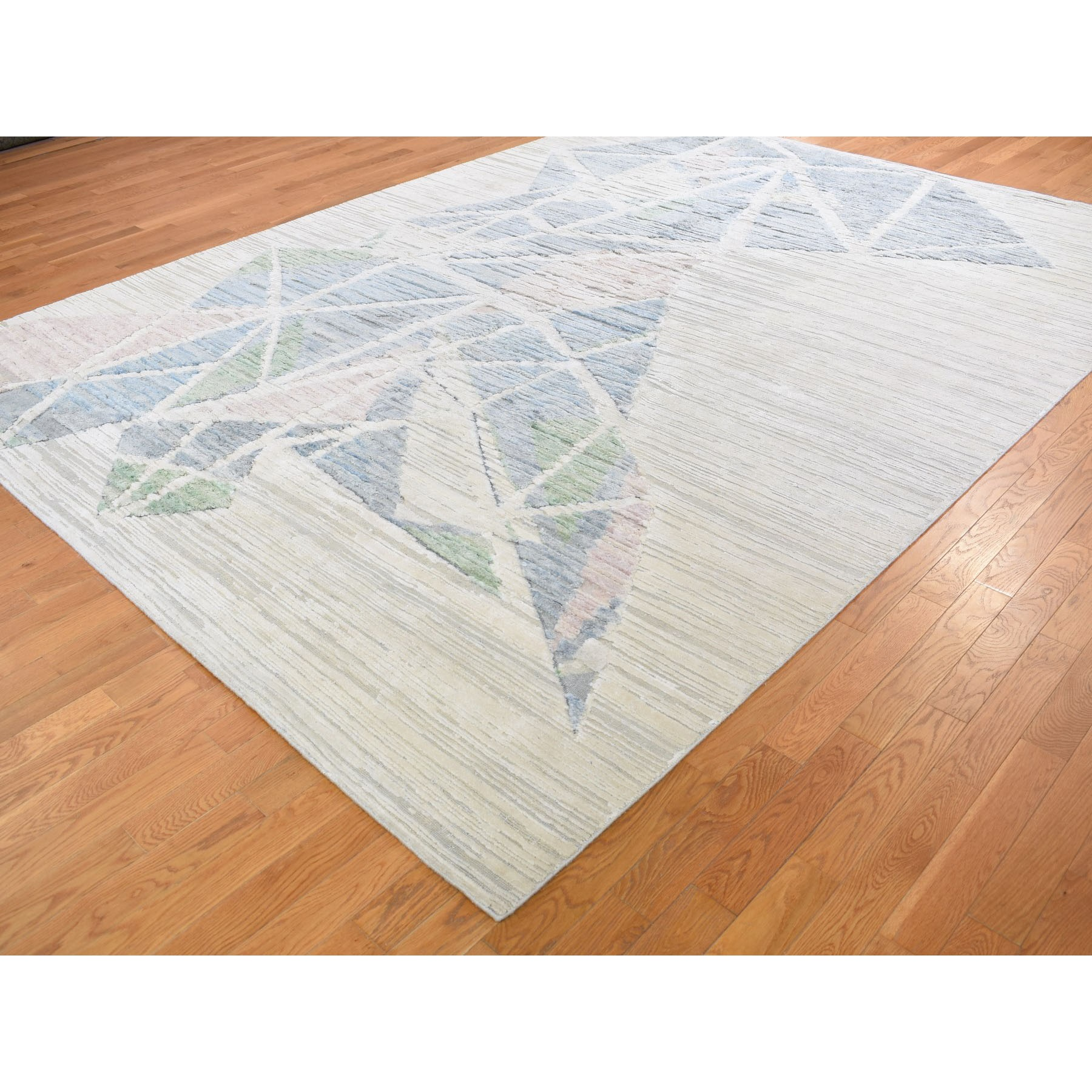 9'x12' Pastel Pure Silk With Textured Wool Hi-low Hand Knotted Oriental Rug