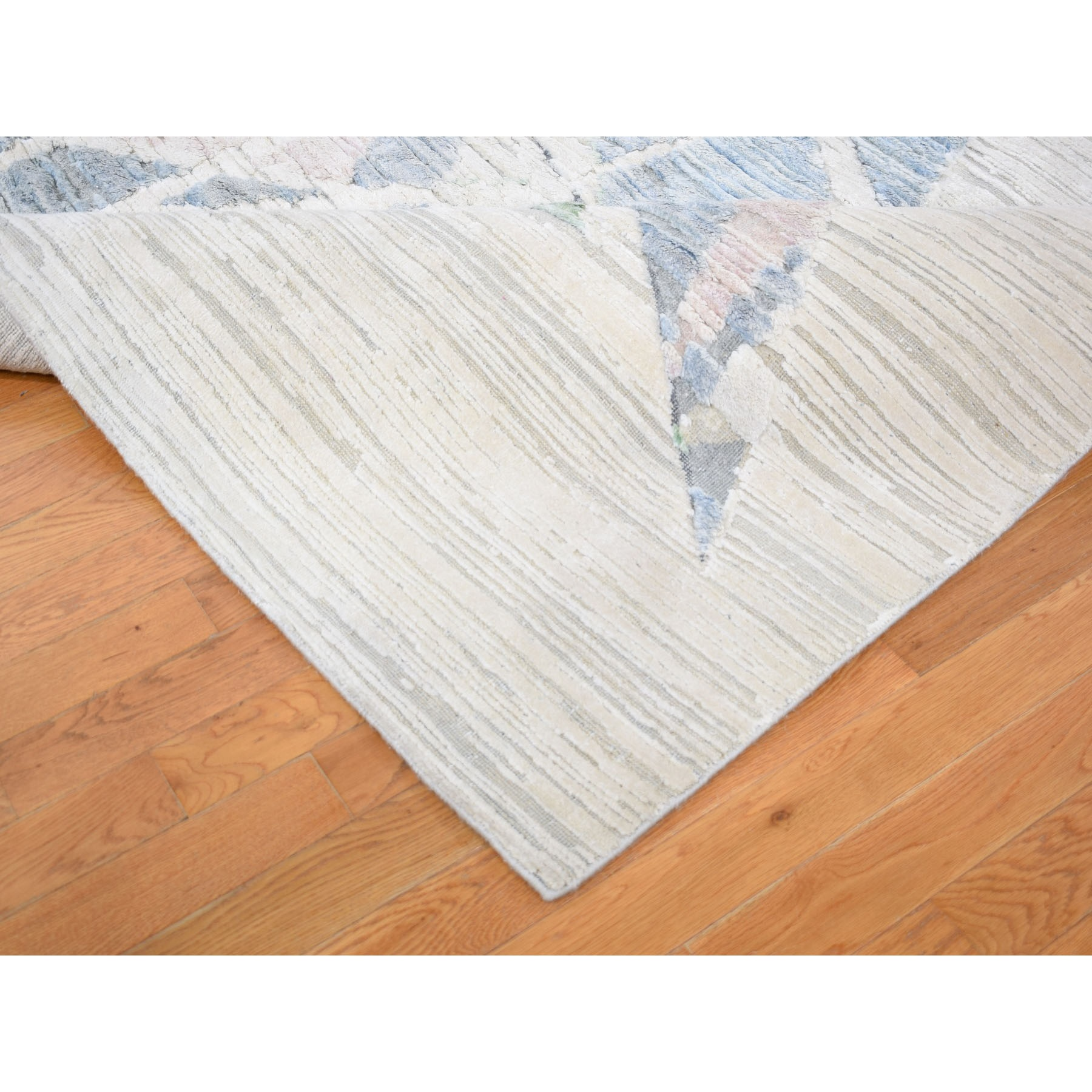 9-x12- Pastel Pure Silk With Textured Wool Hi-low Hand Knotted Oriental Rug