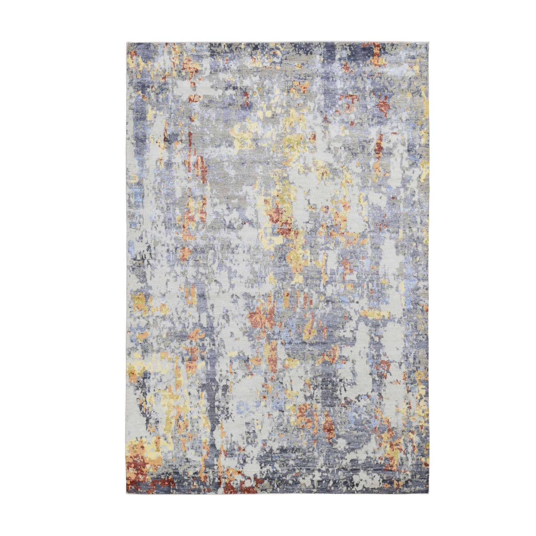 6'X9'  Wool And Silk Abstract Design Hand Knotted Oriental Rug moad8bae