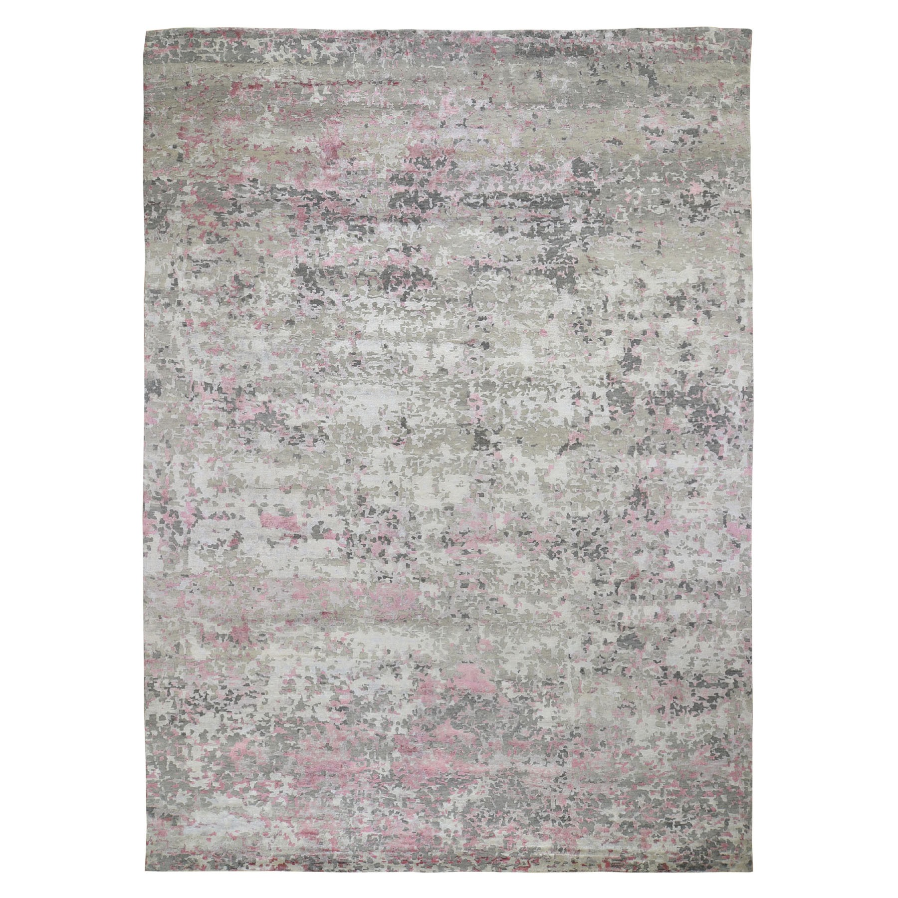 "10'X13'9"" Hi-Low Pile Abstract Design Wool And Silk Hand-Knotted Oriental Rug moad8ba6"